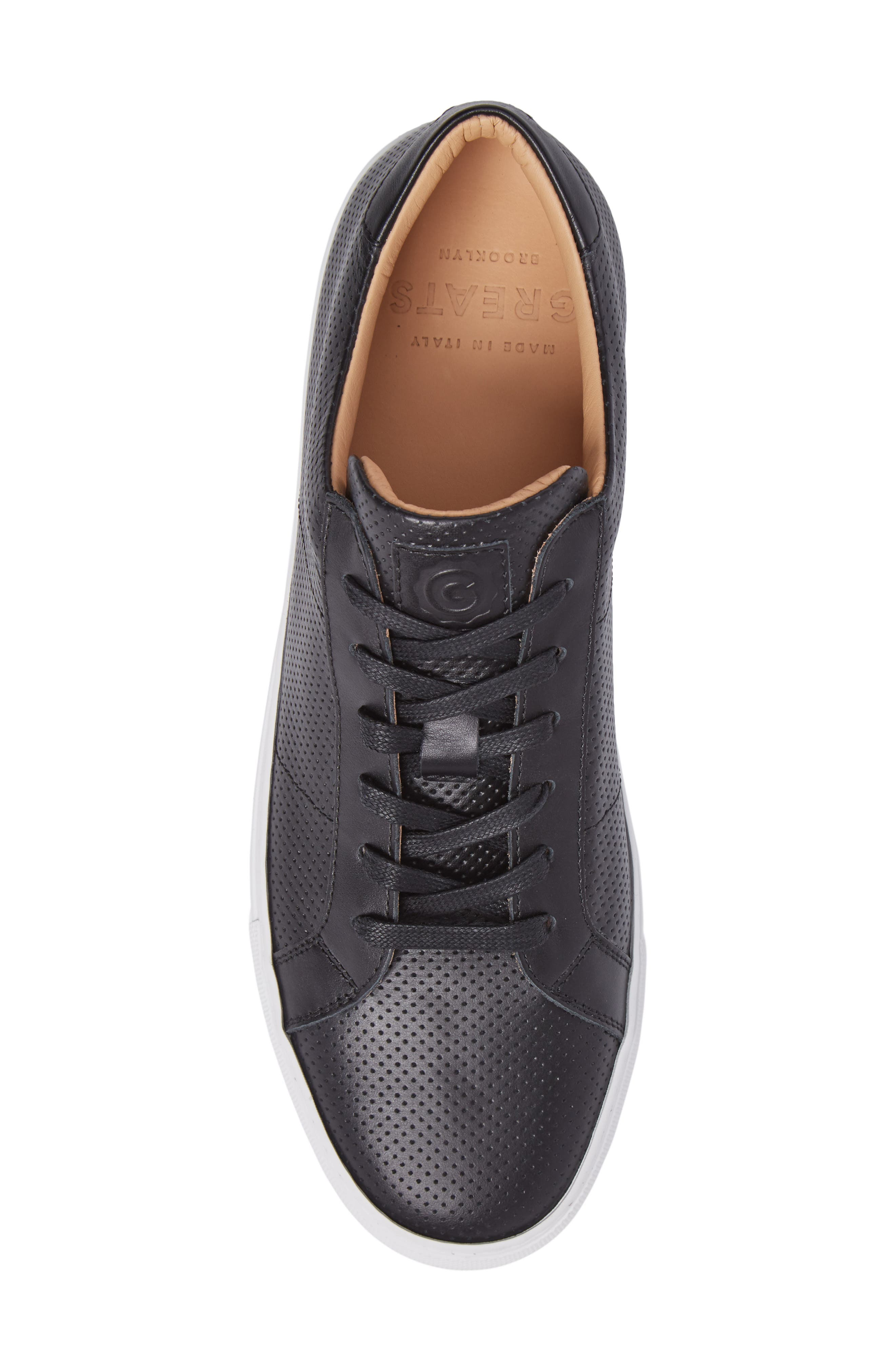 Royale Perforated Low Top Sneaker,                             Alternate thumbnail 5, color,                             001
