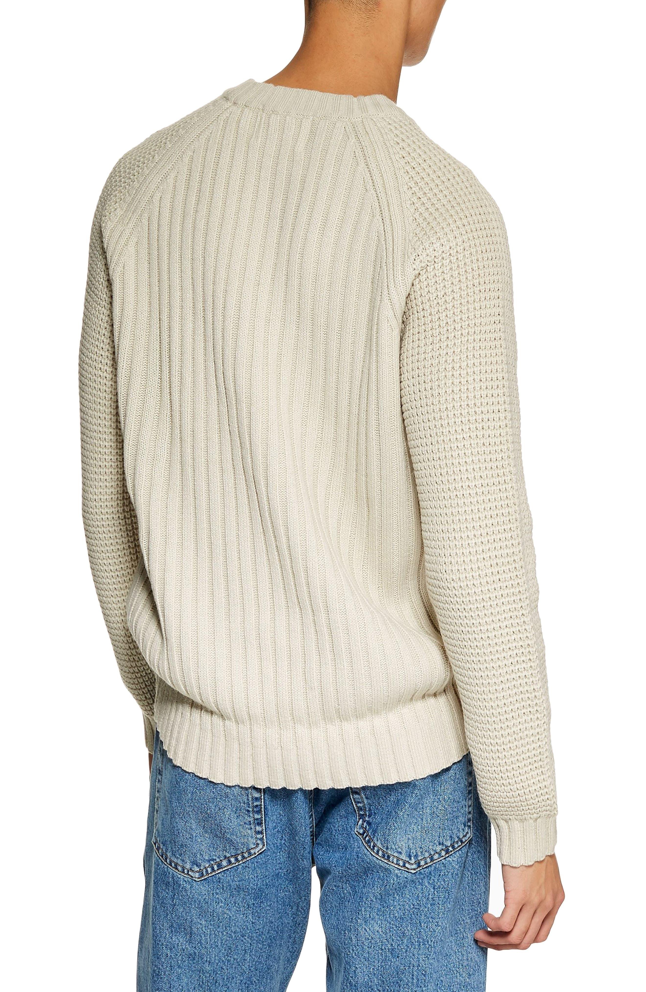 Mixed Stitch Classic Crewneck Sweater,                             Alternate thumbnail 2, color,                             STONE