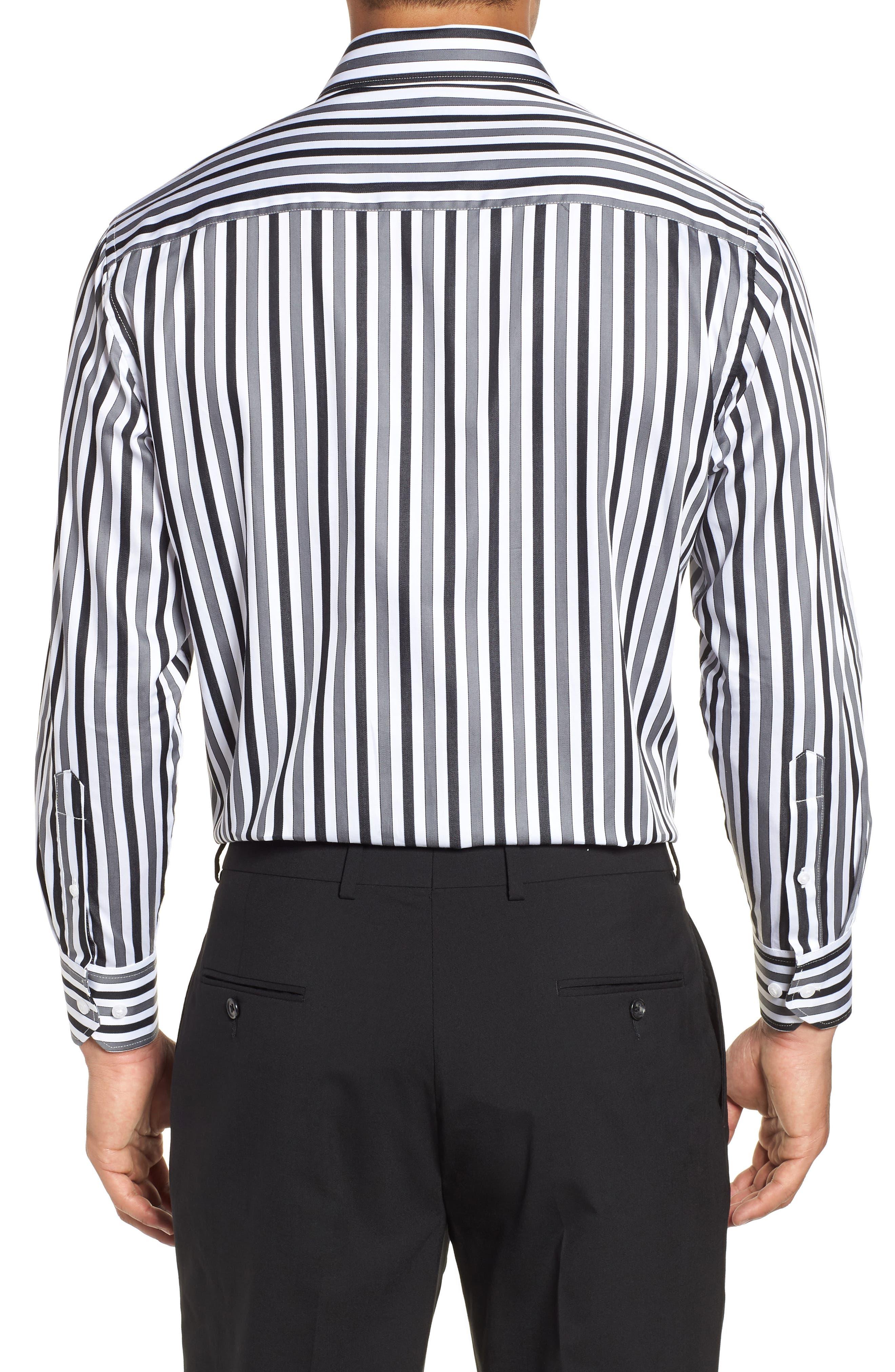 Regular Fit Stripe Dress Shirt,                             Alternate thumbnail 3, color,                             BLACK