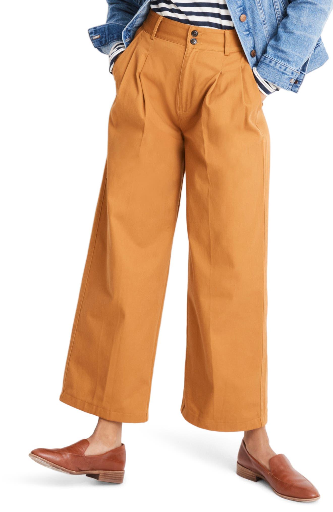 High Waist Crop Wide Leg Pants,                         Main,                         color, GOLDEN PECAN