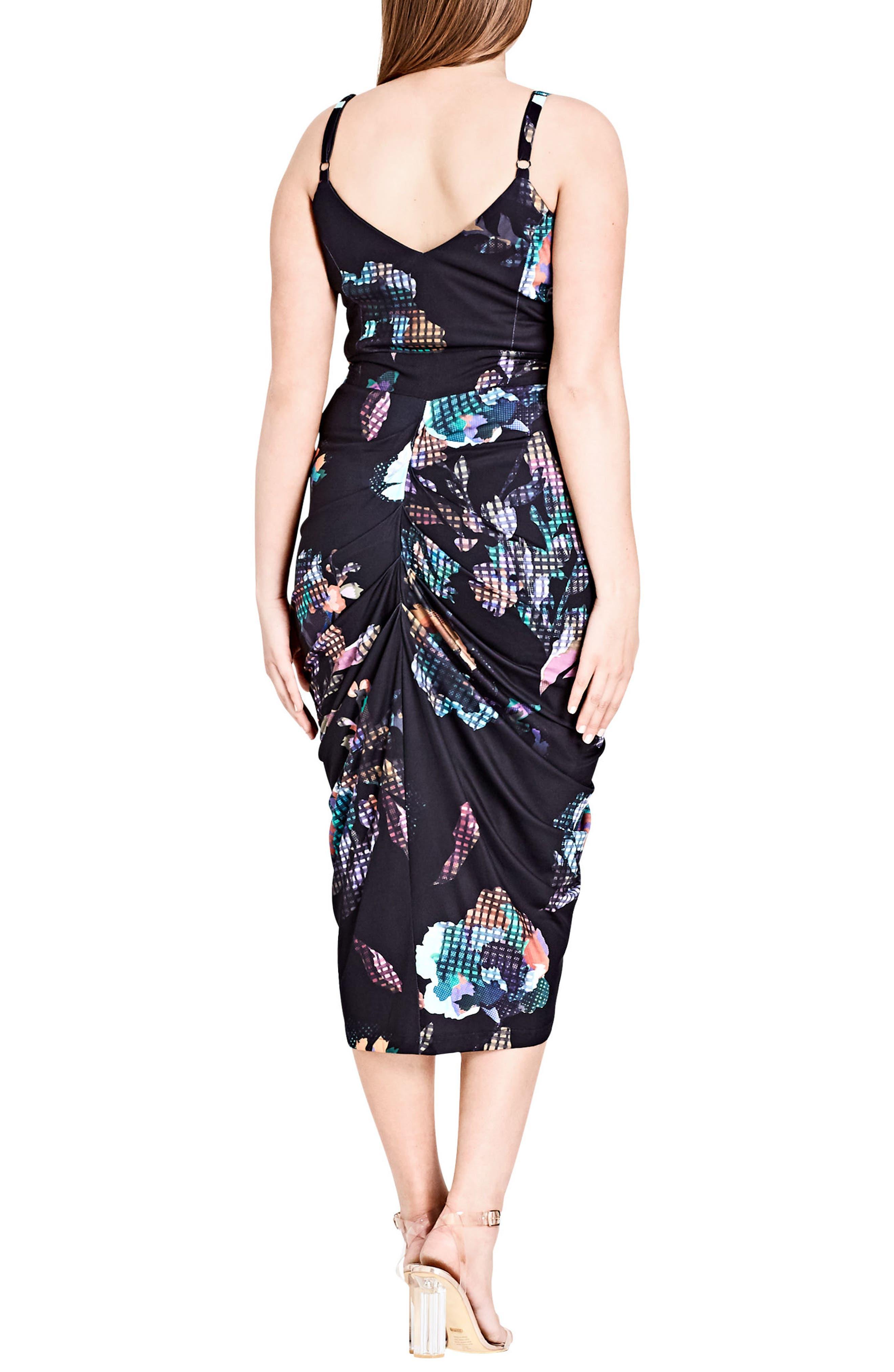 Zip Front Digital Floral Dress,                             Alternate thumbnail 2, color,                             001