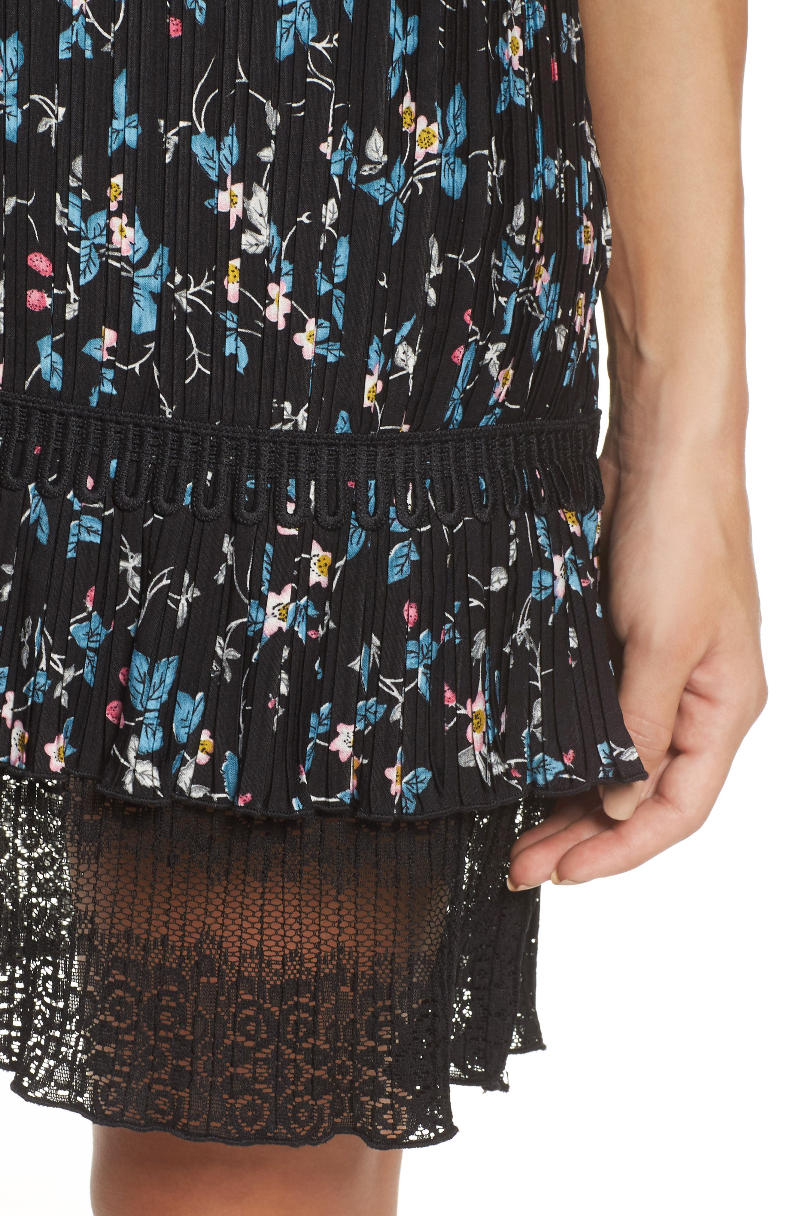 Pleated Lace Dress,                             Alternate thumbnail 4, color,                             001