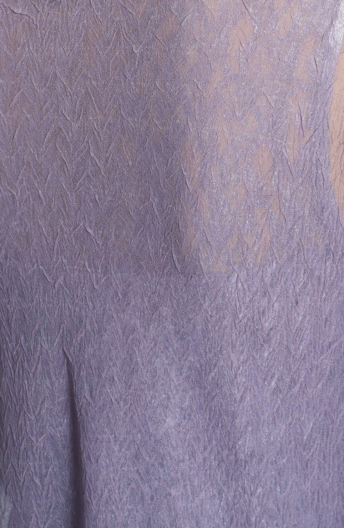 Beaded Neck Charmeuse Dress & Jacket,                             Alternate thumbnail 4, color,                             PURPLE ASH OMBRE