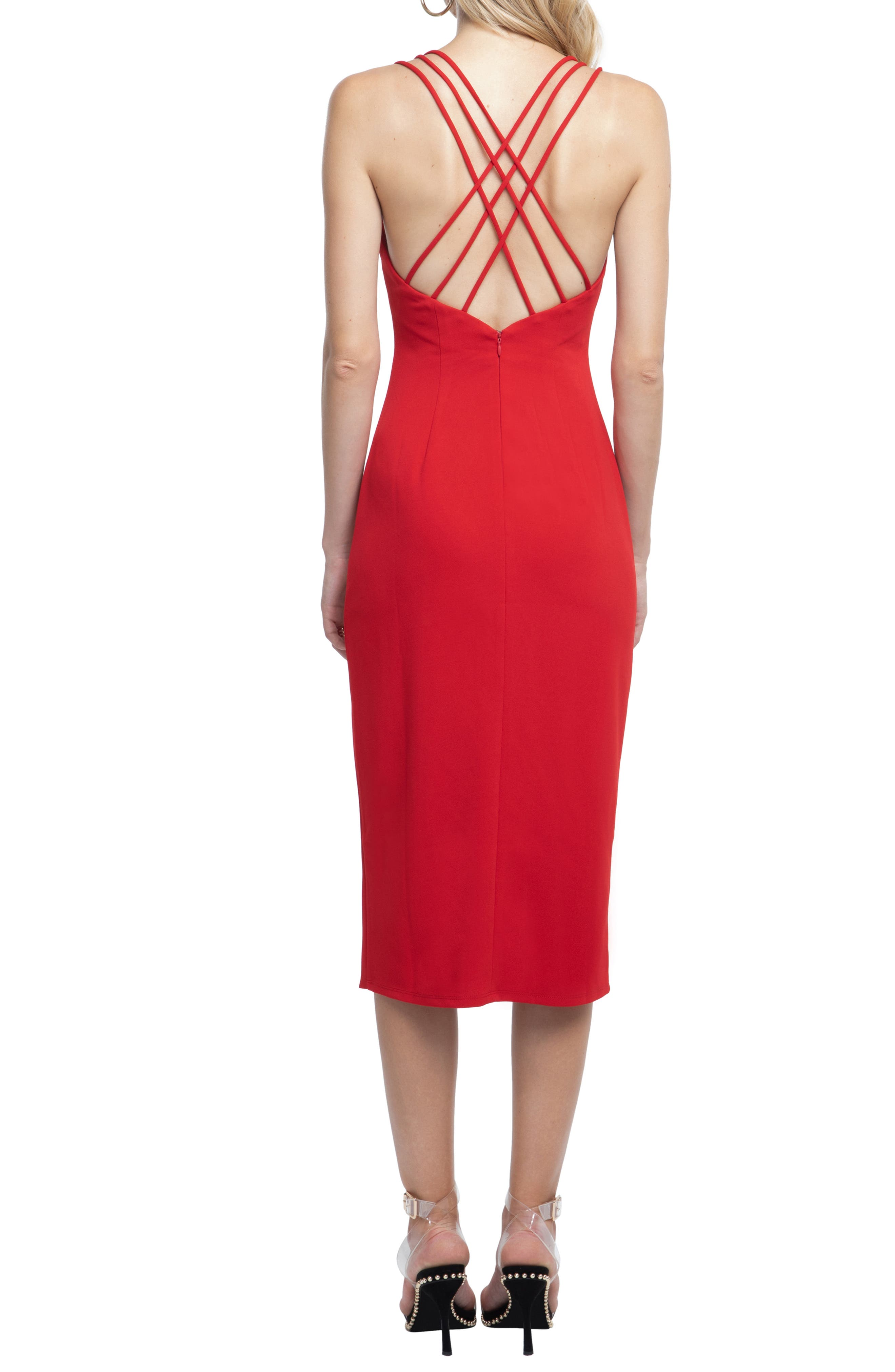 Strappy Back Sheath Dress,                             Alternate thumbnail 2, color,                             RED