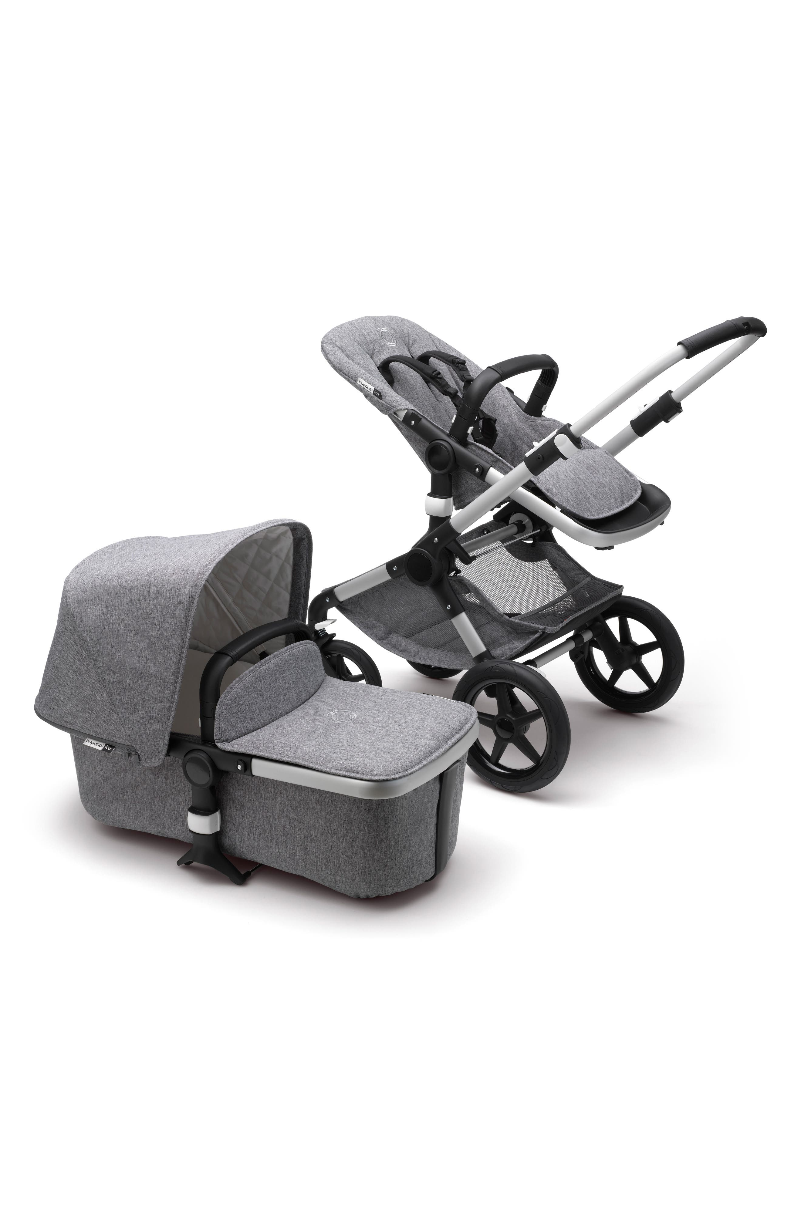 Fox Classic Complete Stroller with Bassinet,                         Main,                         color, GREY MELANGE/ ALUMINUM