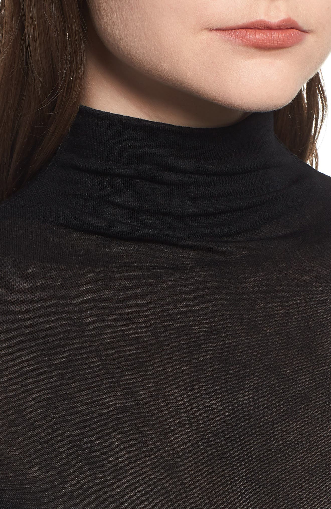 Lightweight Long Sleeve Funnel Neck Top,                             Alternate thumbnail 4, color,                             001