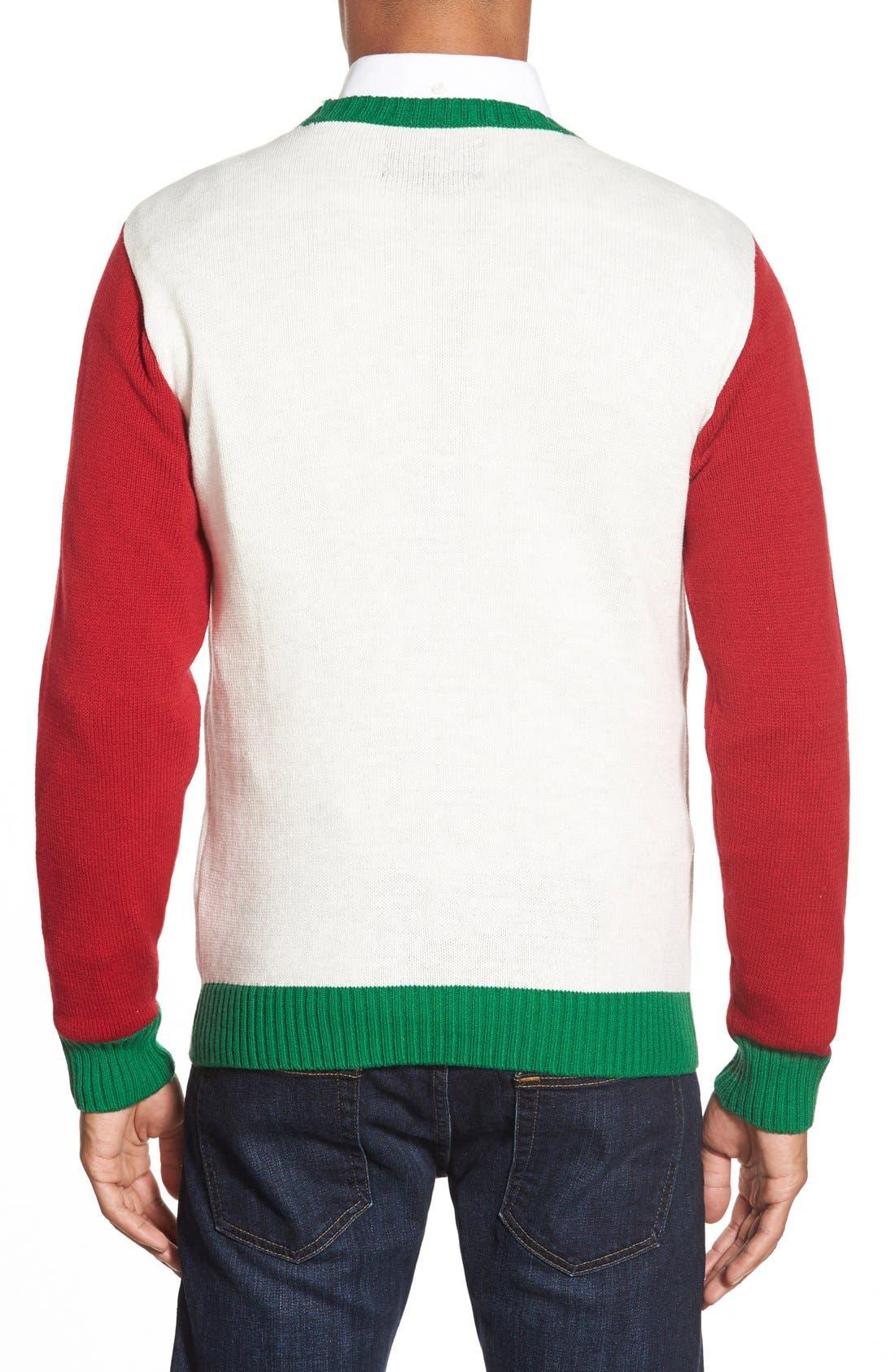 'Emoji Faces' Holiday Crewneck Sweater,                             Alternate thumbnail 4, color,