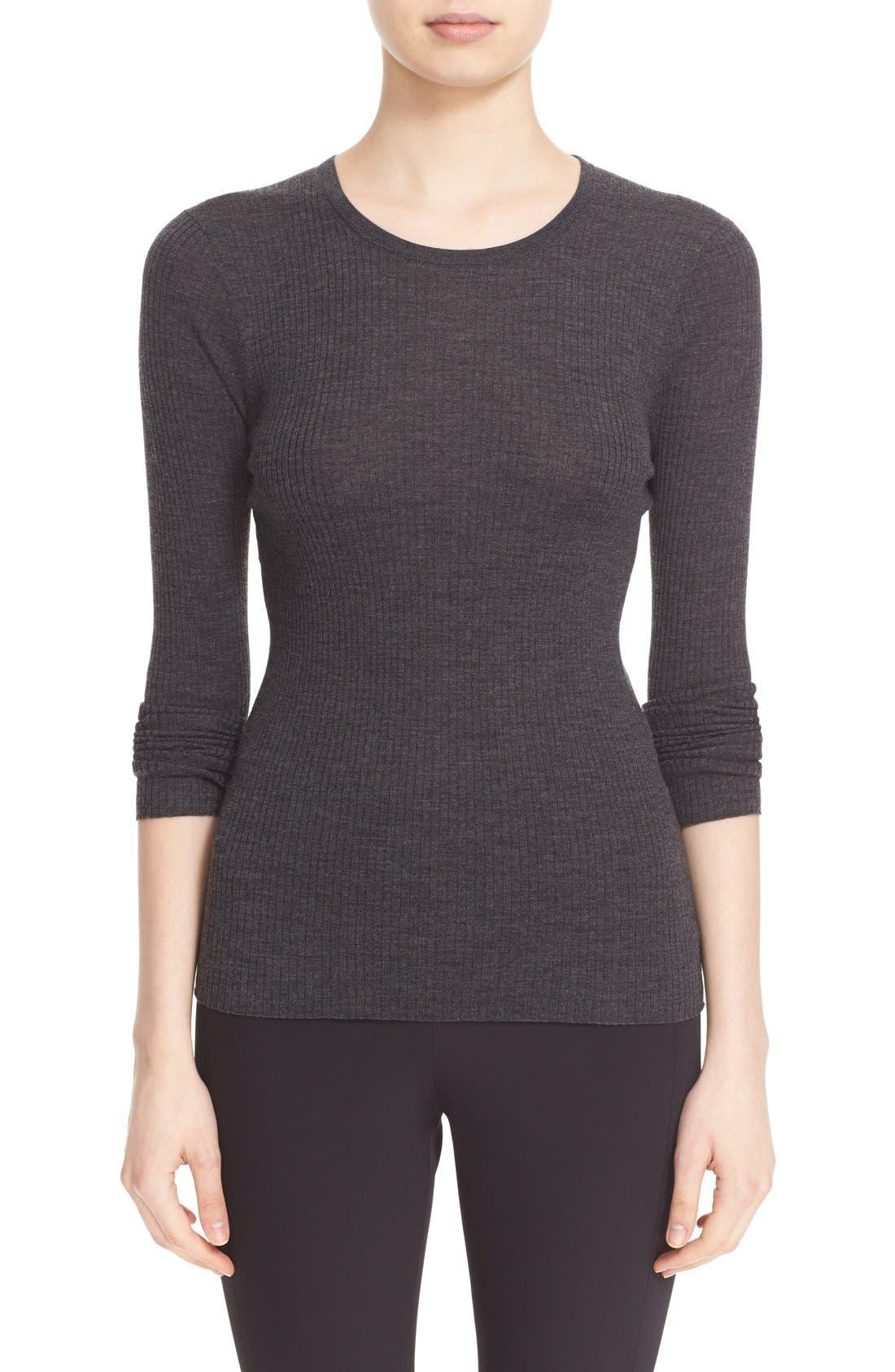 'Mirzi' Rib Knit Merino Wool Sweater,                             Main thumbnail 1, color,                             CHARCOAL MELANGE