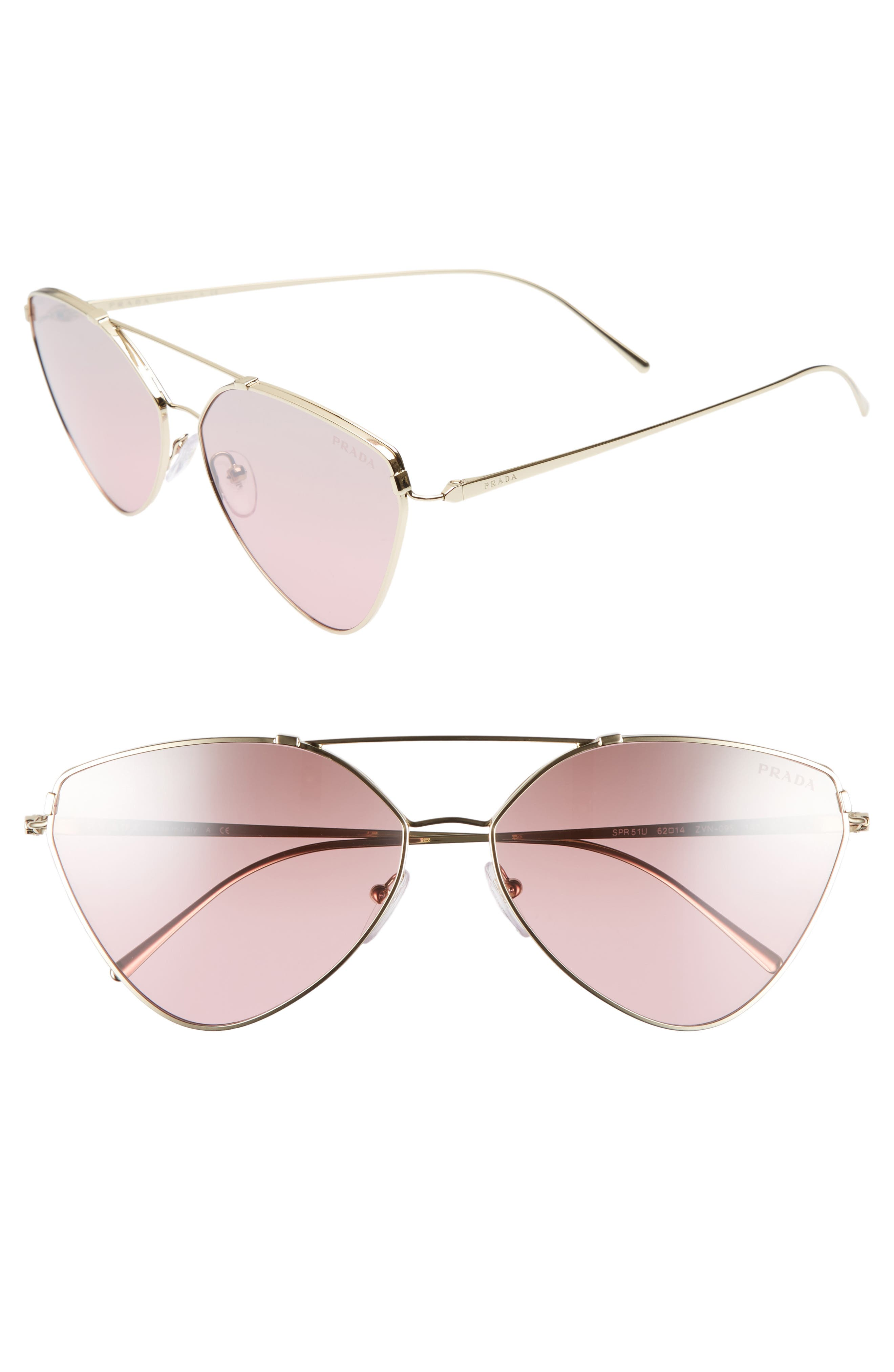 62mm Gradient Aviator Sunglasses,                             Main thumbnail 1, color,                             PALE GOLD