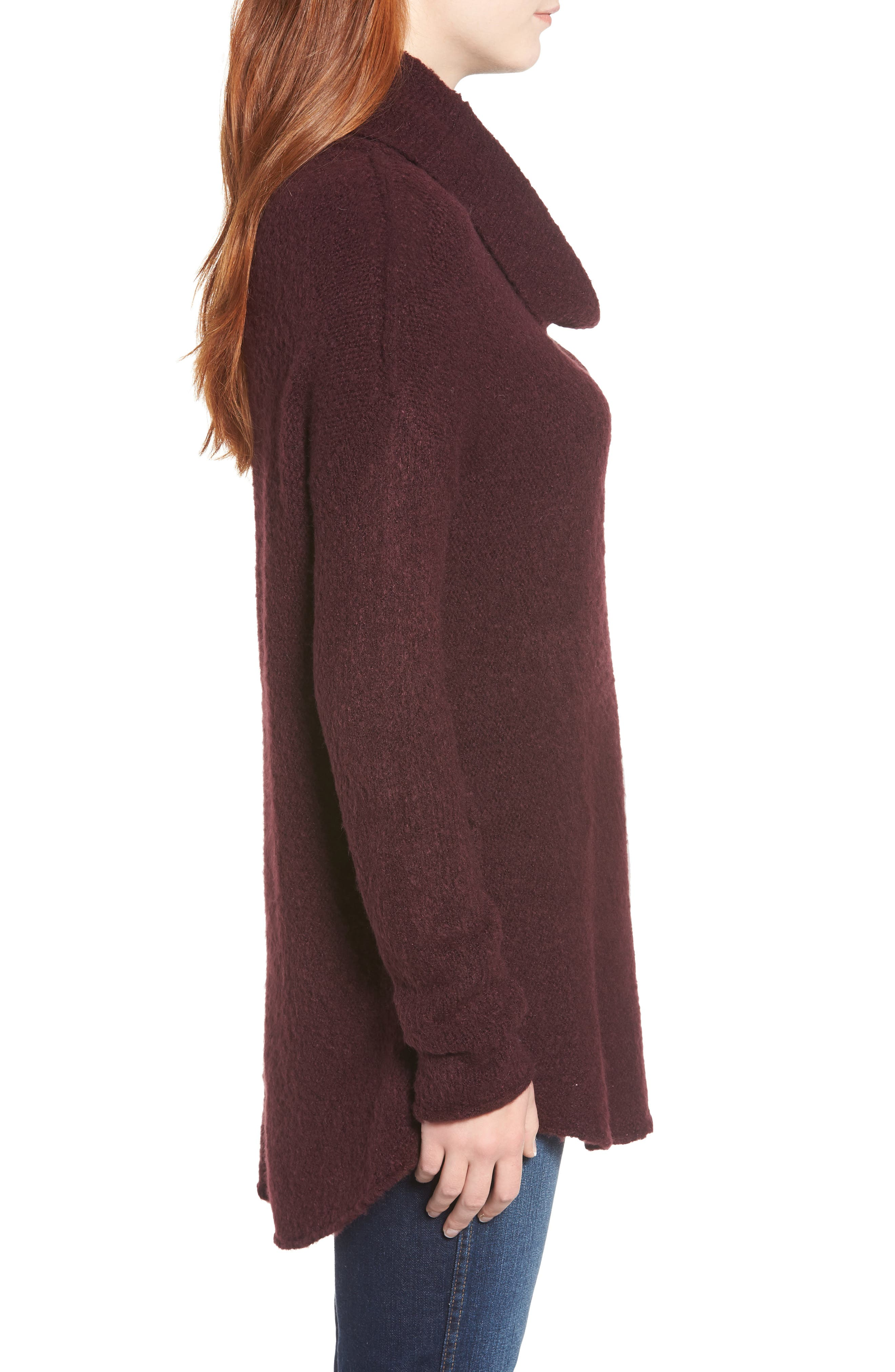 Tunic Sweater,                             Alternate thumbnail 3, color,                             BURGUNDY FIG