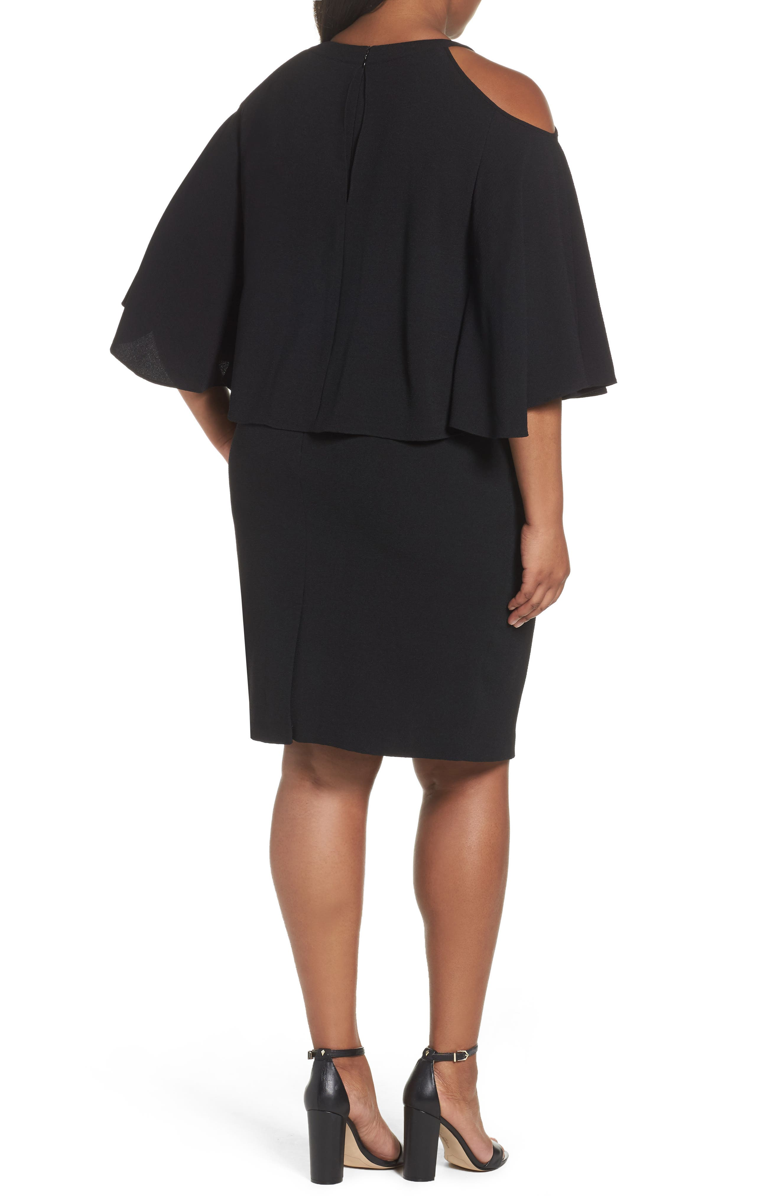 Cold Shoulder Crepe Sheath Dress,                             Alternate thumbnail 3, color,