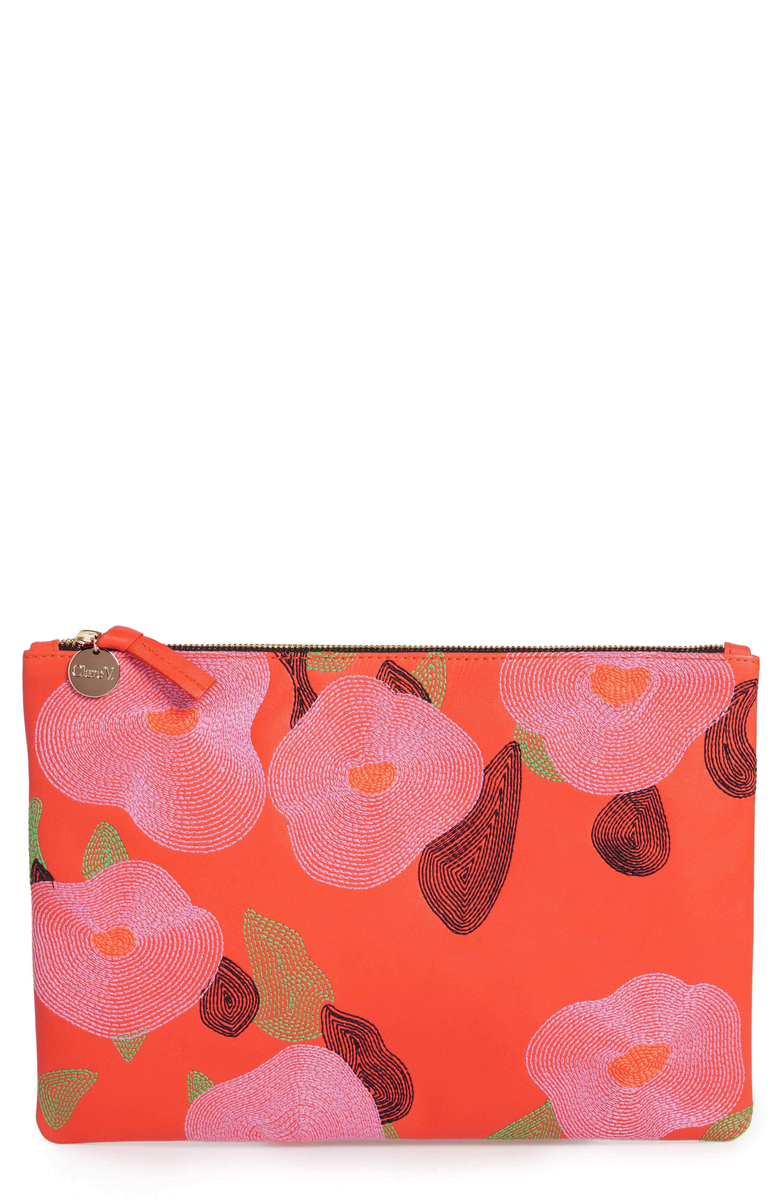 Embroidered Poppy Leather Flat Clutch,                             Main thumbnail 1, color,