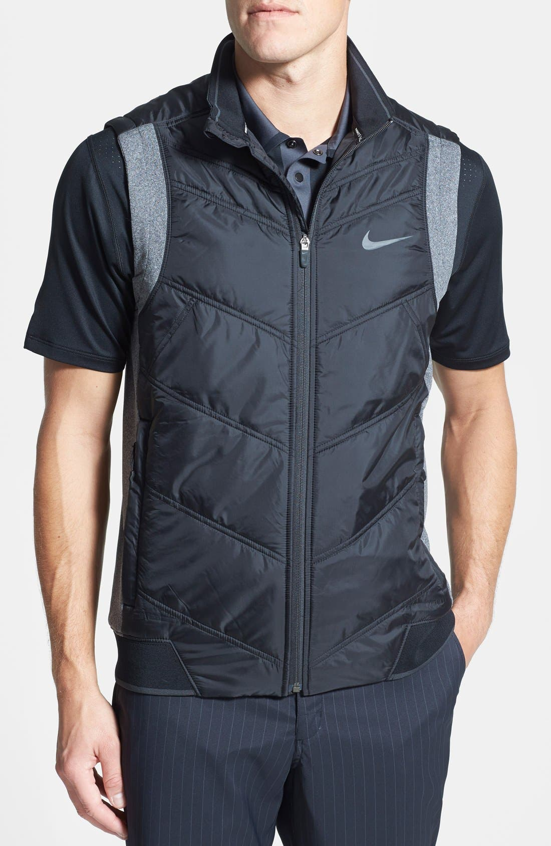 'Thermal Mapping' Wind & Water Resistant Dri-FIT Full Zip Vest, Main, color, 011