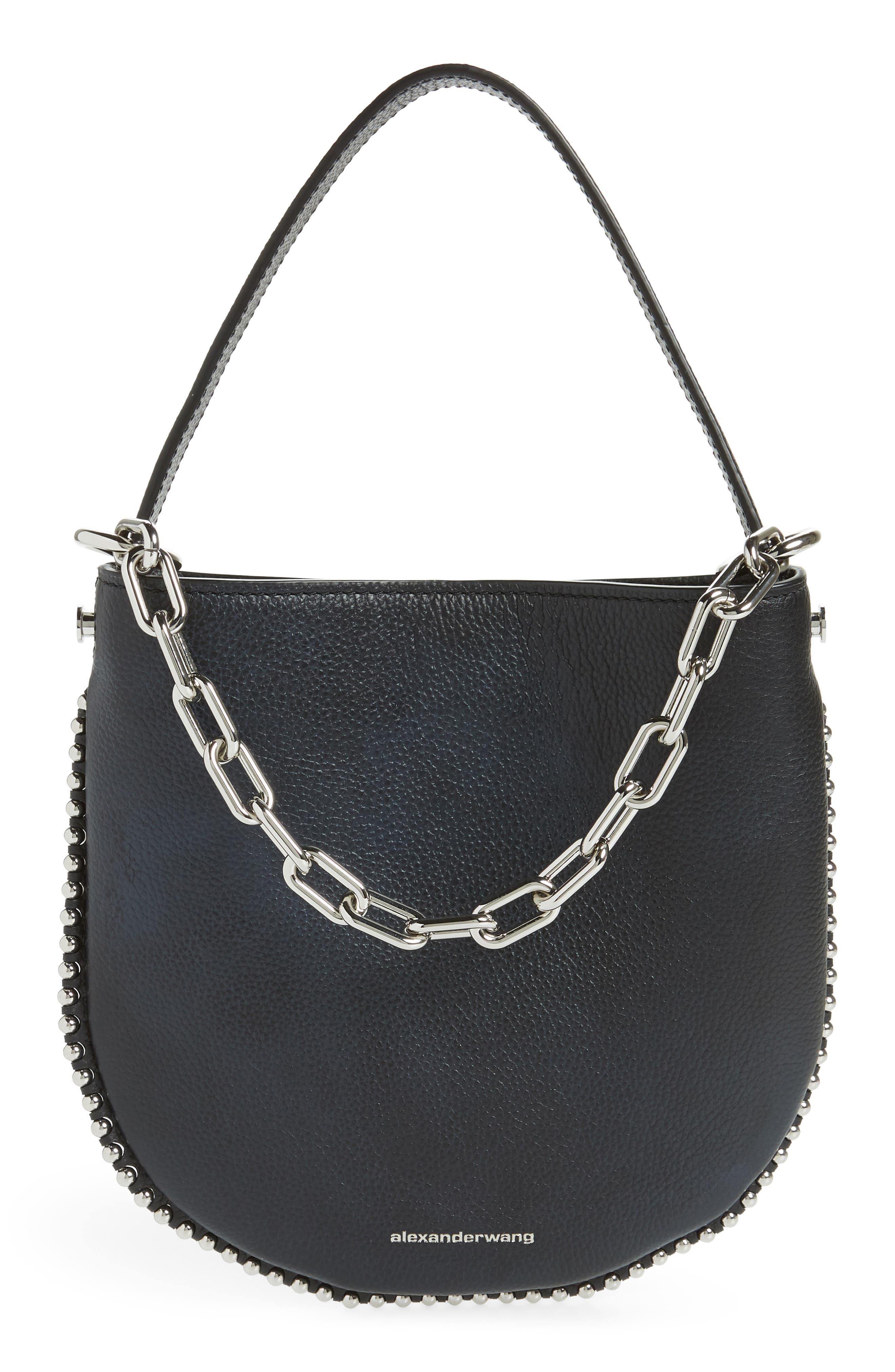 ALEXANDER WANG,                             Mini Roxy Leather Hobo Bag,                             Main thumbnail 1, color,                             BLACK/ WHITE