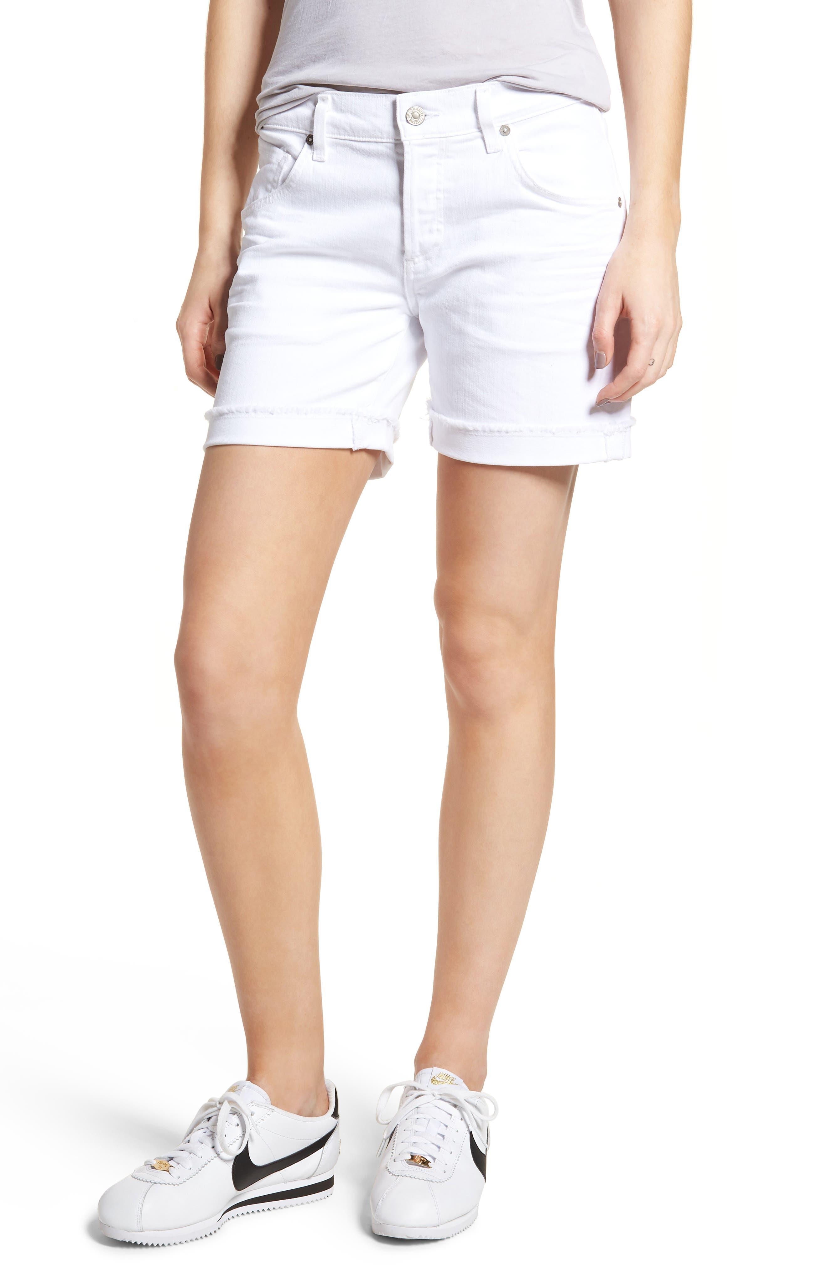 Skyler Denim Shorts,                         Main,                         color, OPTIC WHITE