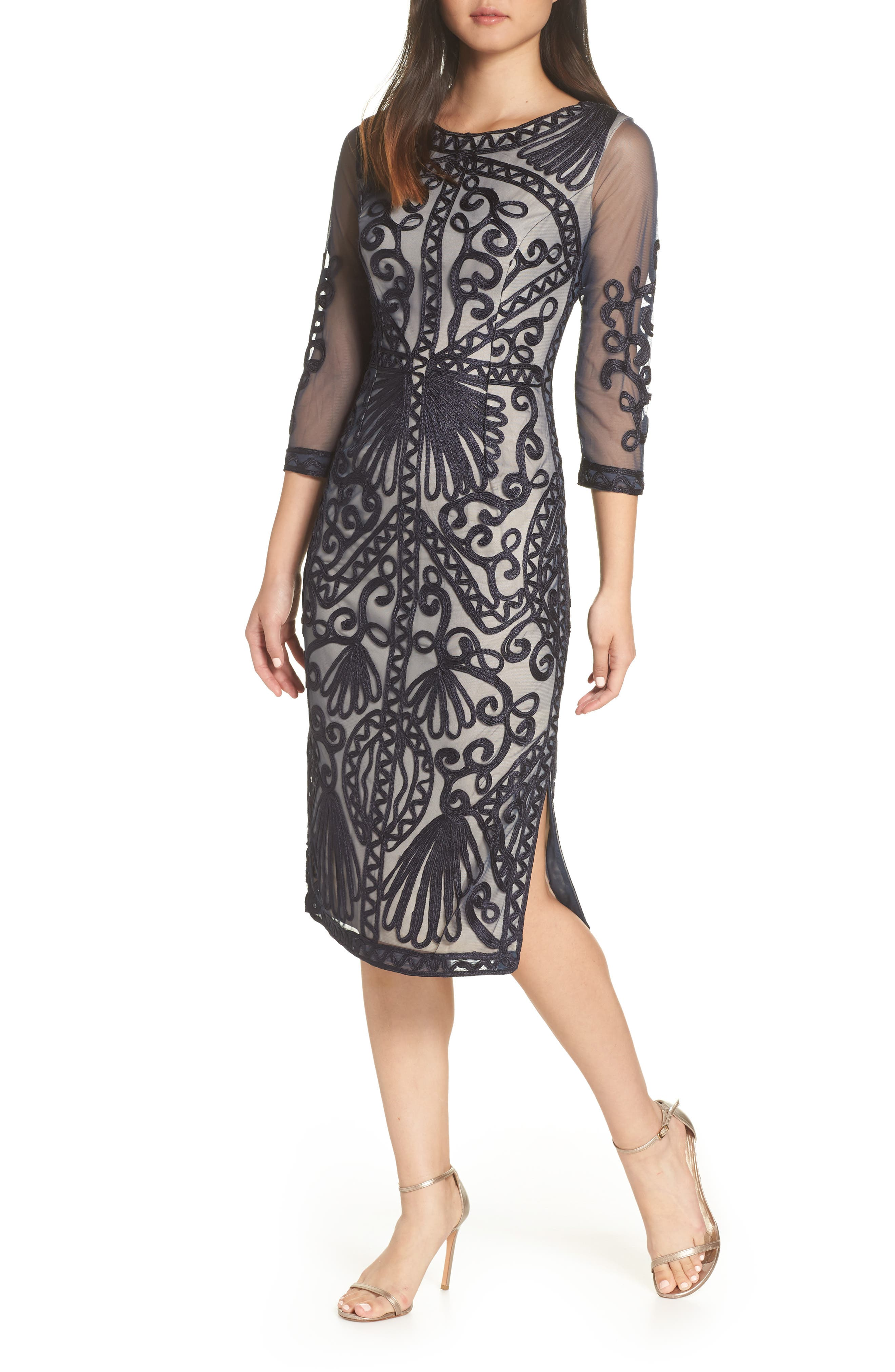 Sheer Sleeve Soutache Sheath Dress,                             Main thumbnail 1, color,                             NAVY/ NUDE