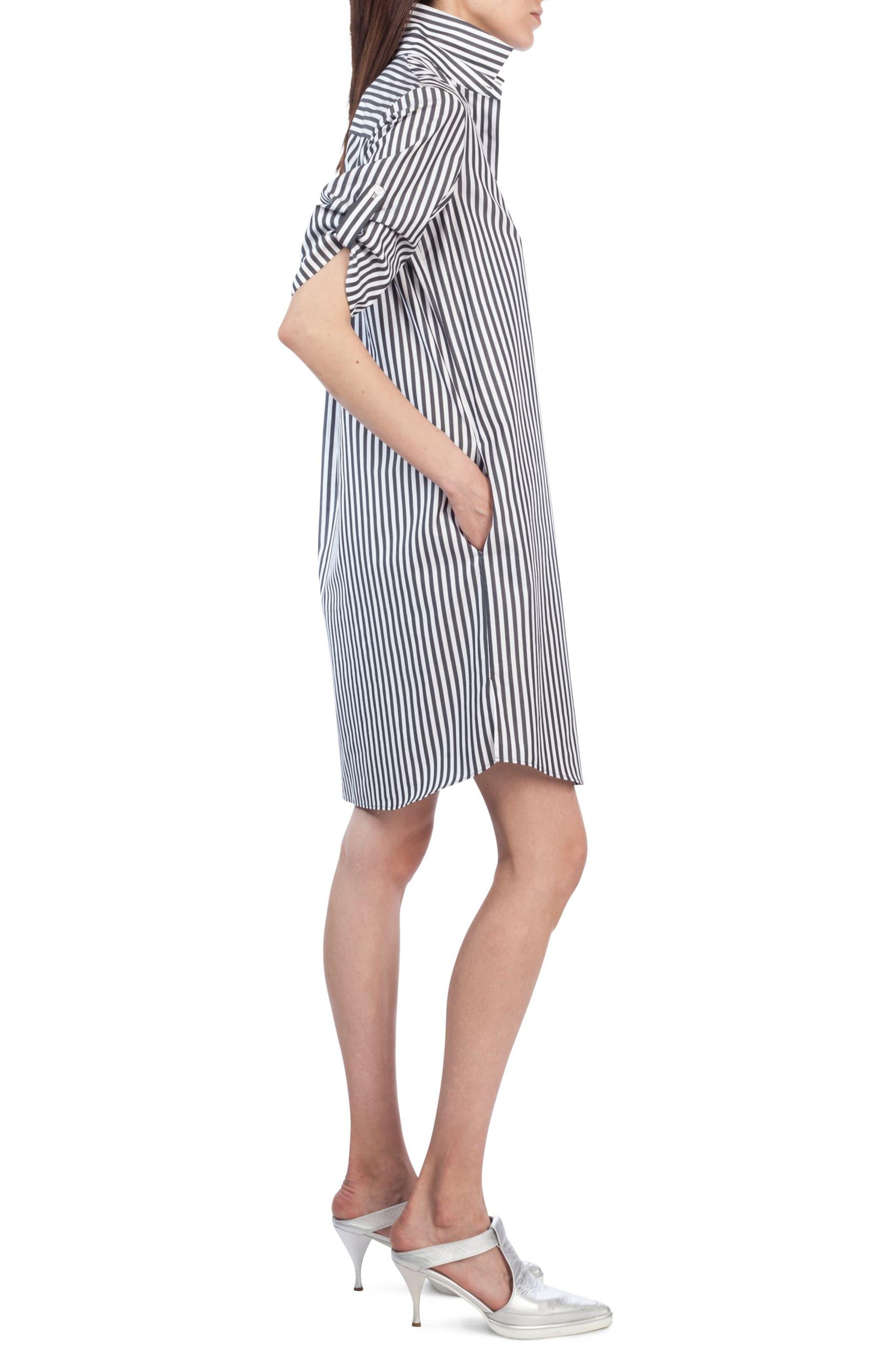Stripe Cotton Shirtdress,                             Alternate thumbnail 3, color,                             960