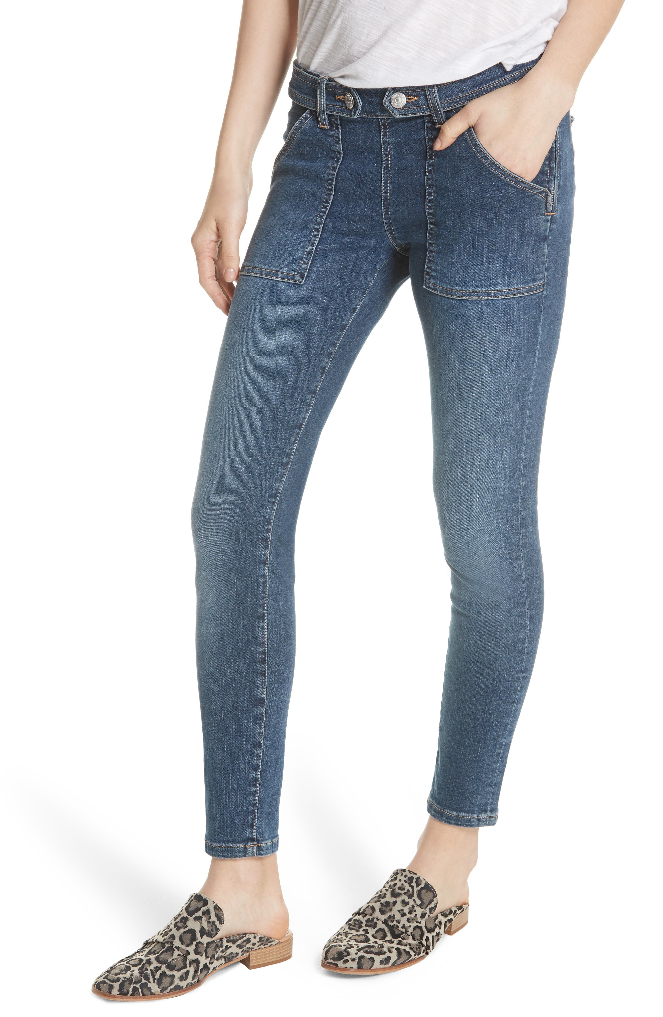 We the Free by Free People Stratford Skinny Jeans,                         Main,                         color, BLUE