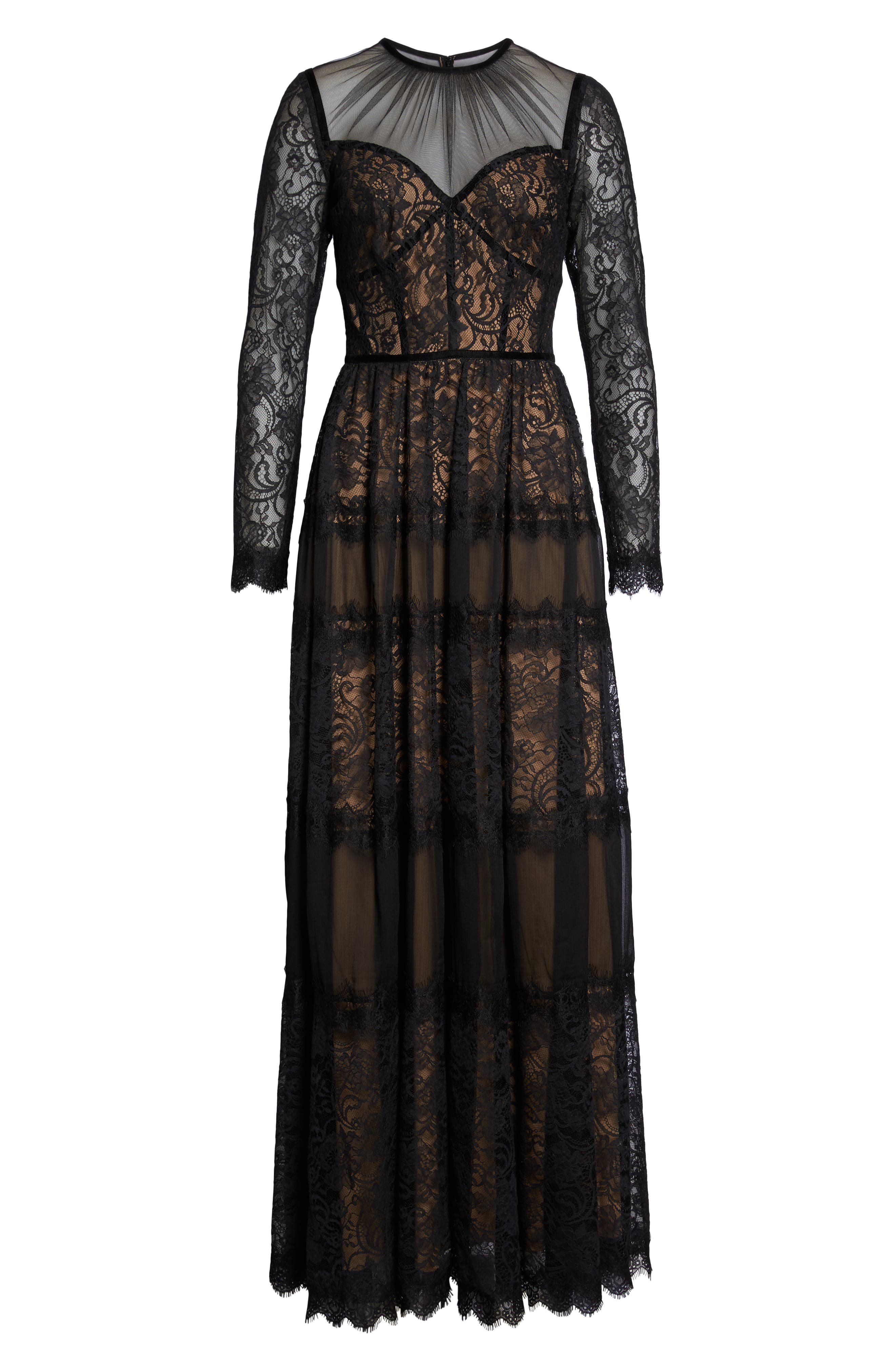 Lace Gown,                             Alternate thumbnail 7, color,                             BLACK/ NUDE
