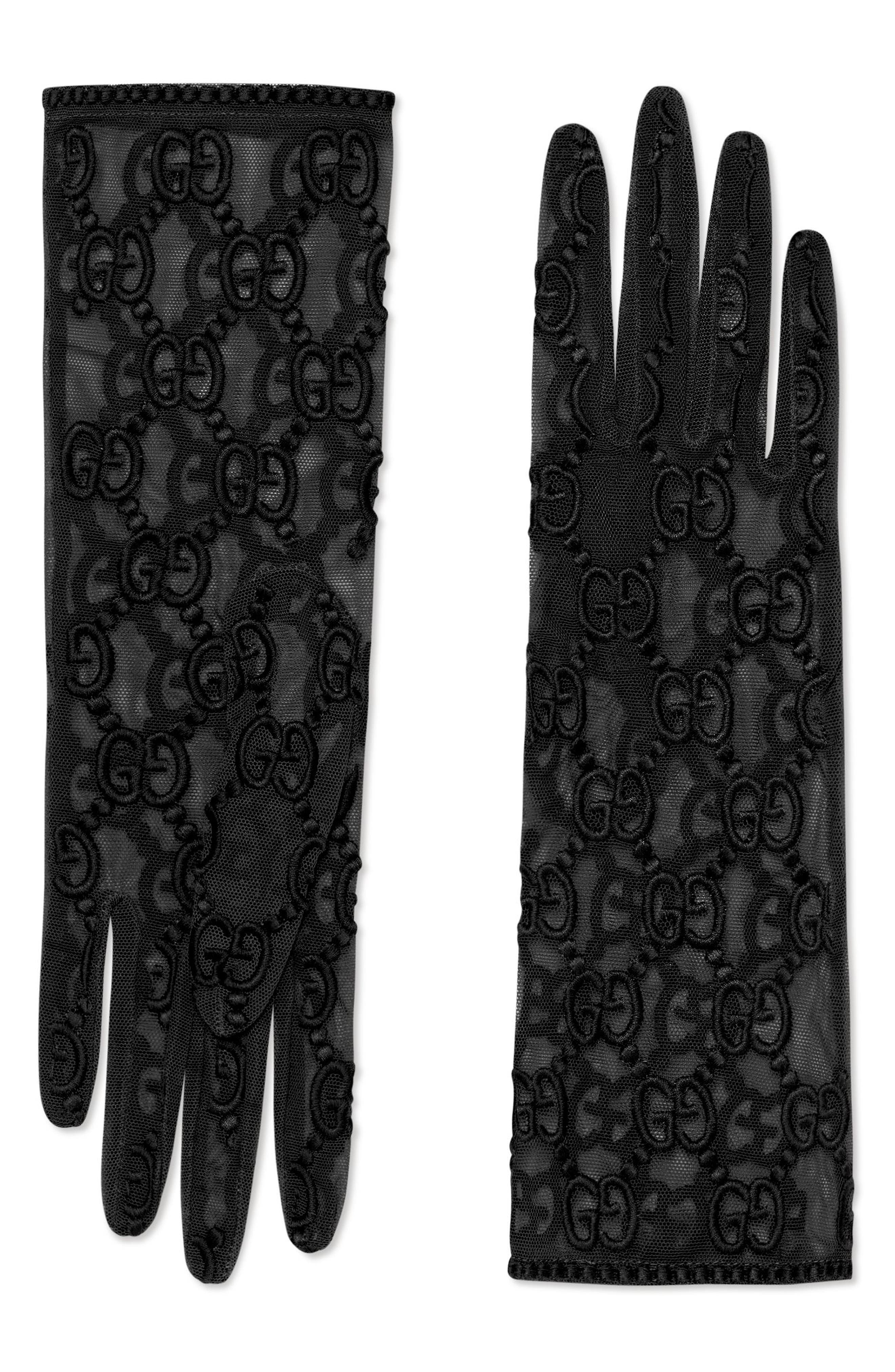 GG Embroidered Lace Tulle Gloves,                         Main,                         color, BLACK
