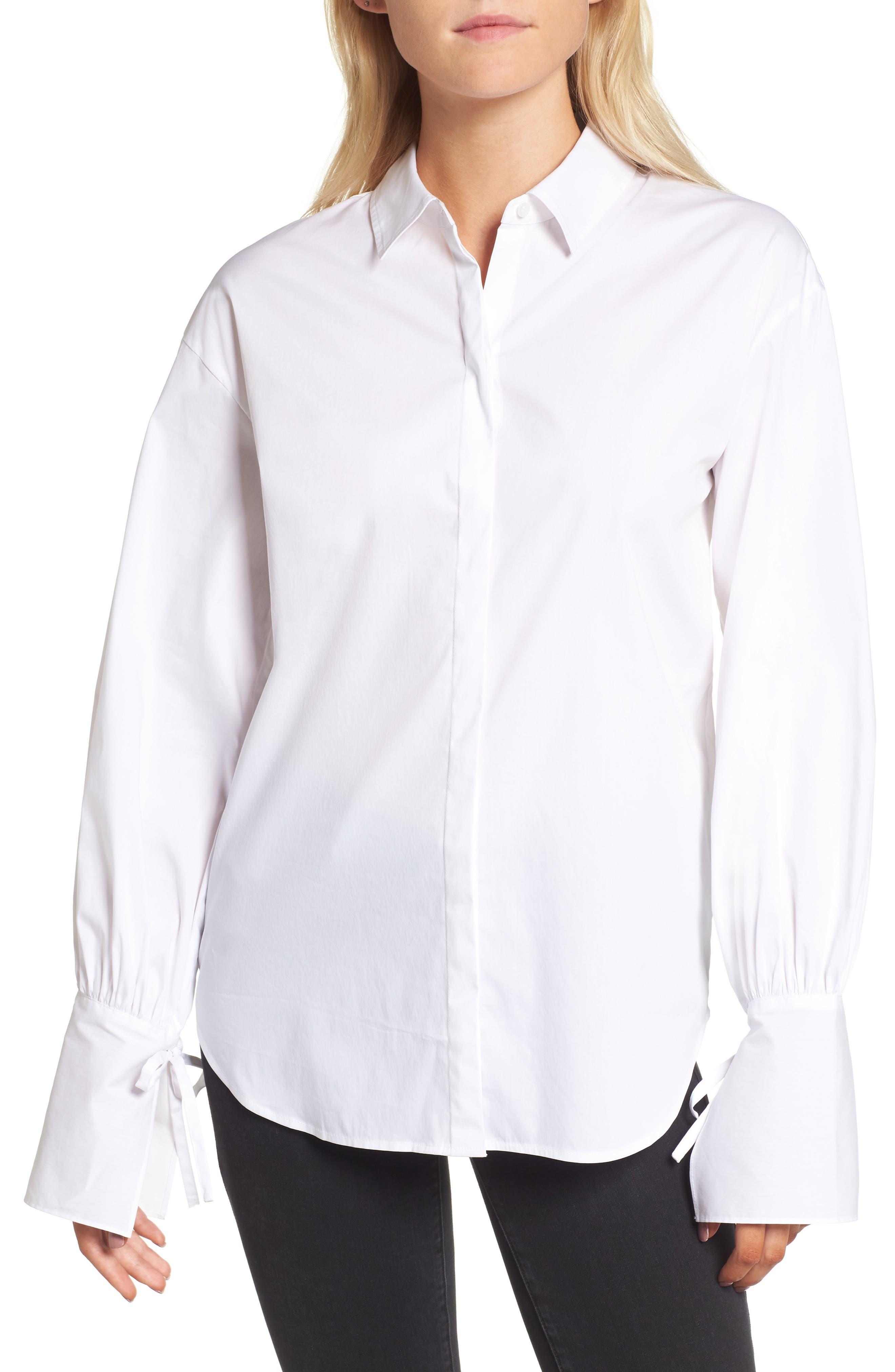 Tie Sleeve Poplin Shirt,                             Main thumbnail 1, color,