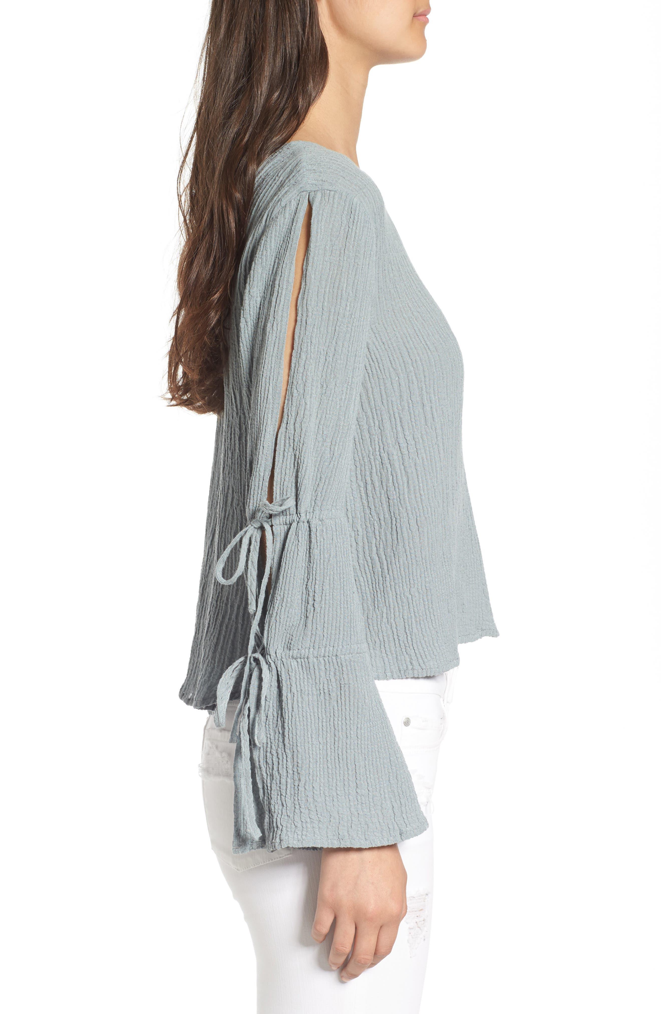 Tie Sleeve Linen Blend Blouse,                             Alternate thumbnail 3, color,