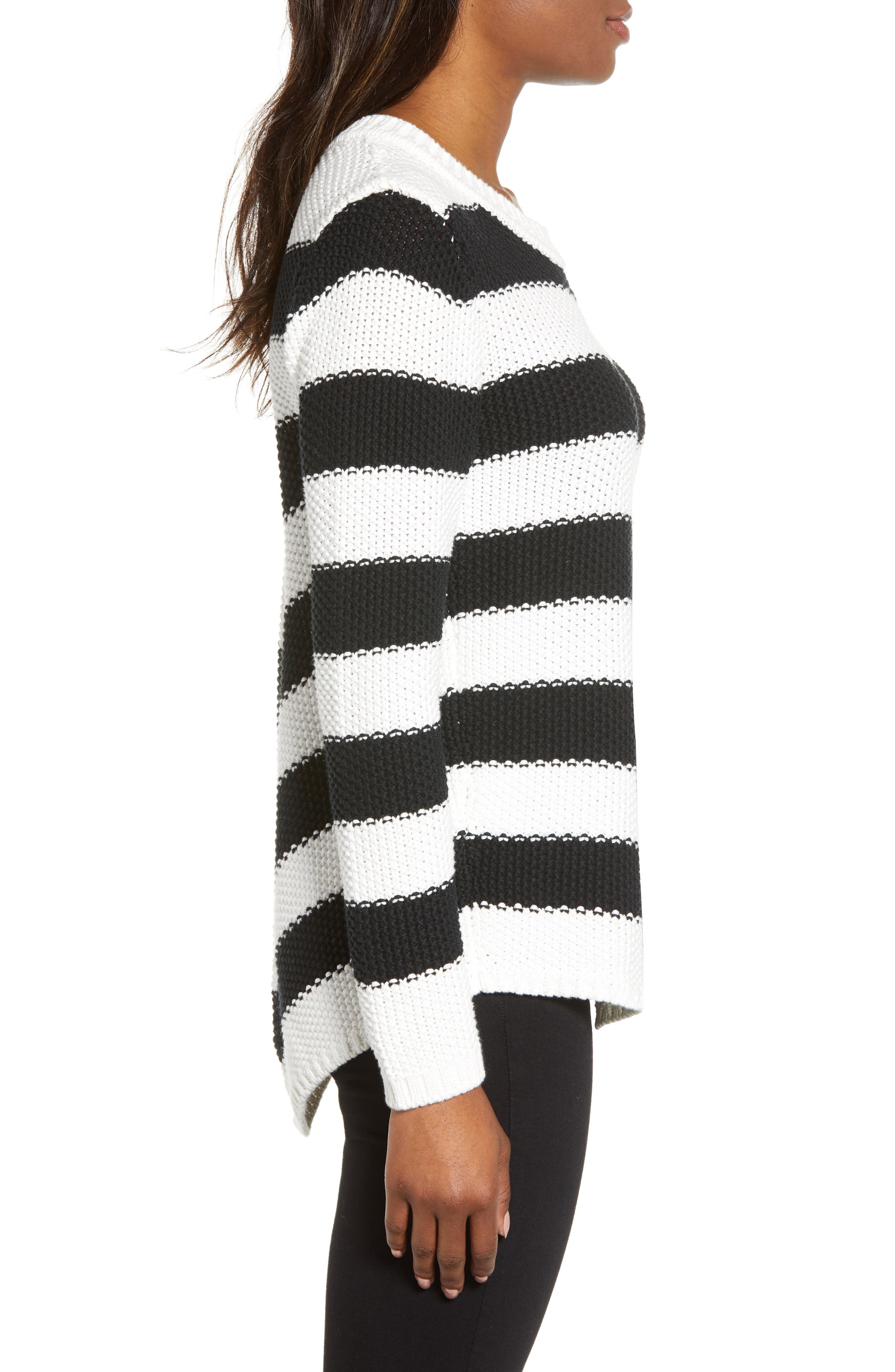 Stitch Stripe Sweater,                             Alternate thumbnail 3, color,                             BLACK- IVORY GABRIELLA STRIPE