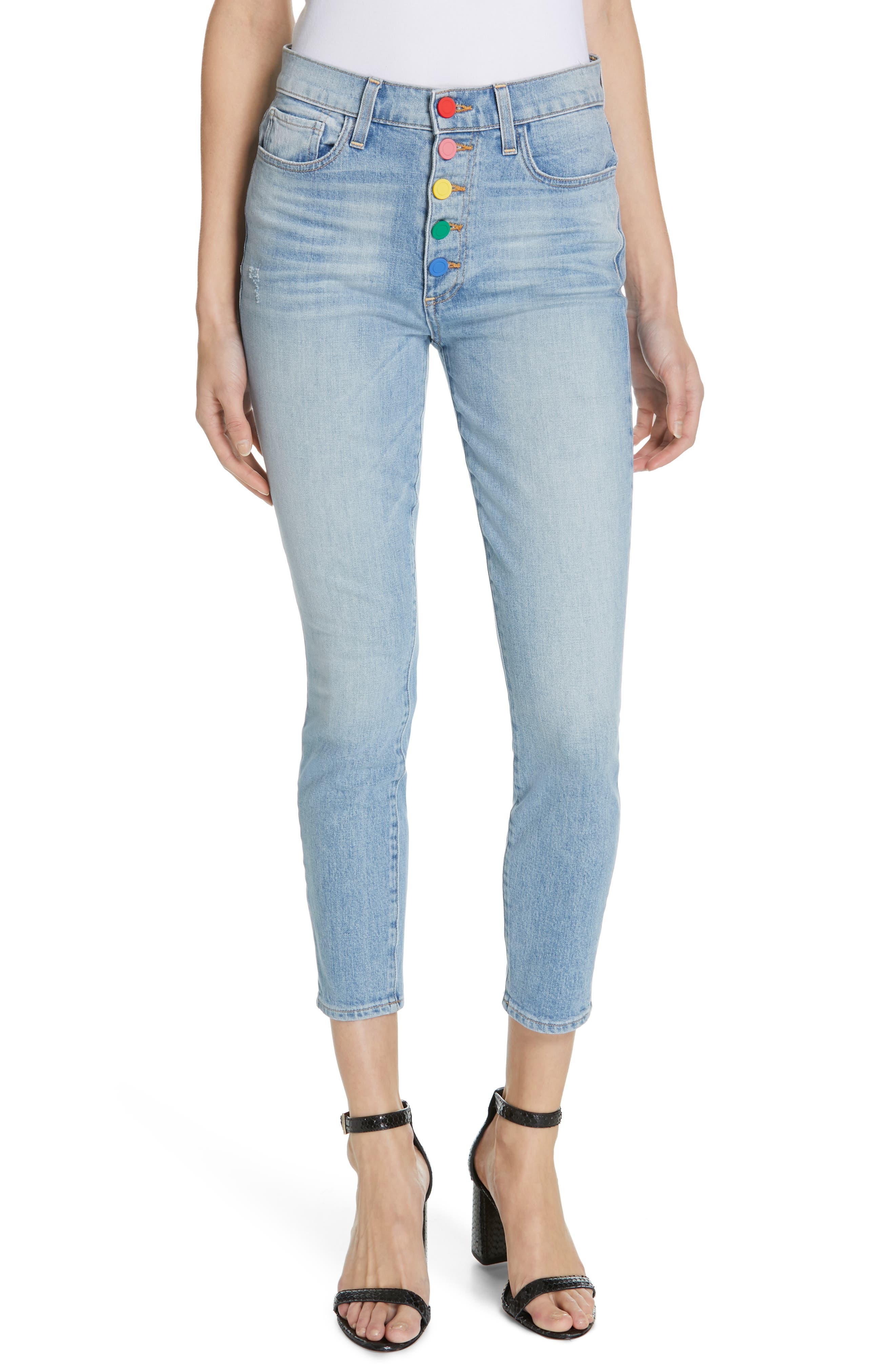 c63fb3f350 Ao.La By Alice+Olivia Good High-Rise Exposed Button Skinny Jeans ...