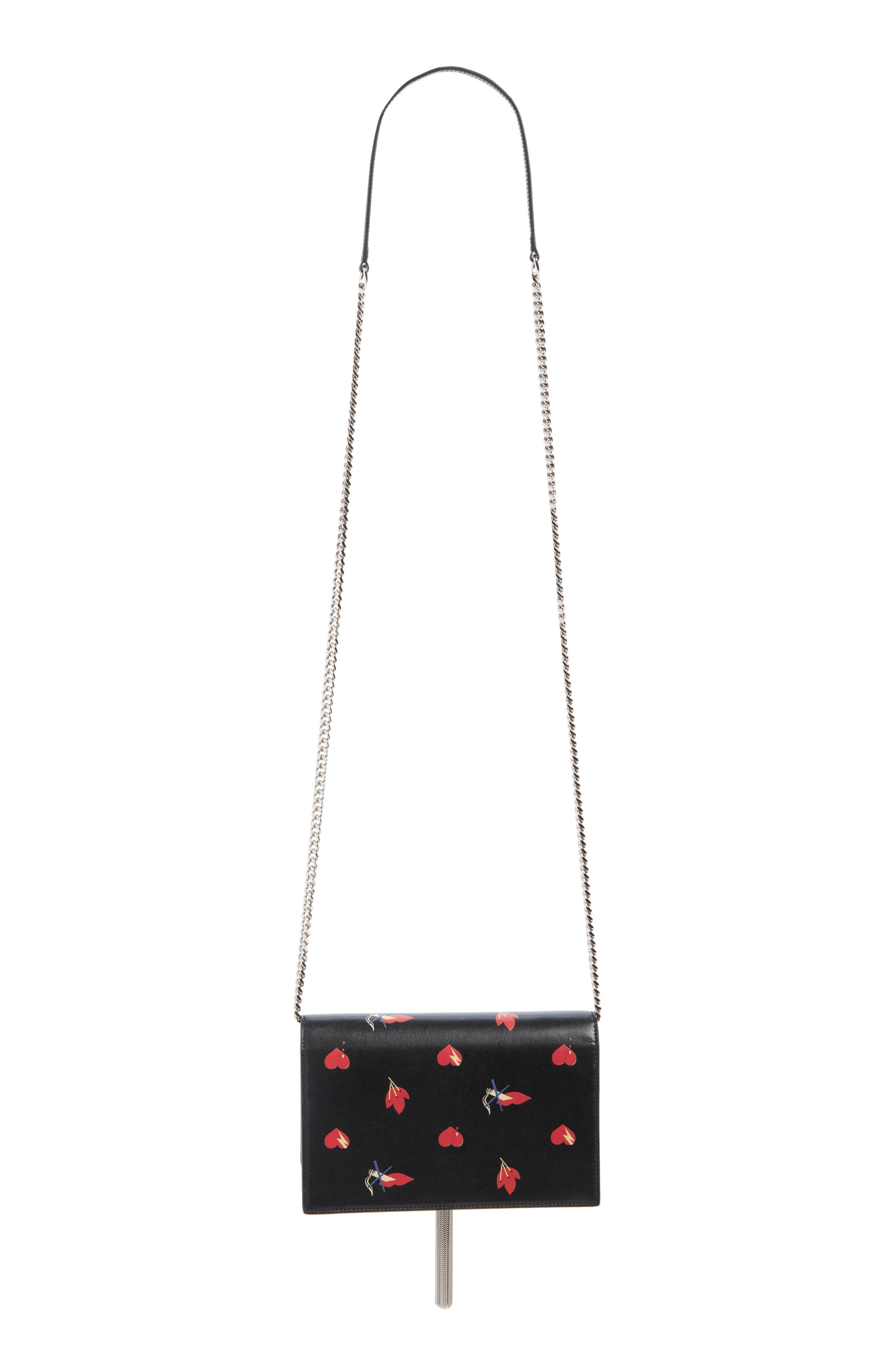 Mini Kate Leather Wallet on a Chain,                             Alternate thumbnail 3, color,                             NERO/ ROSSO/ BIANCO