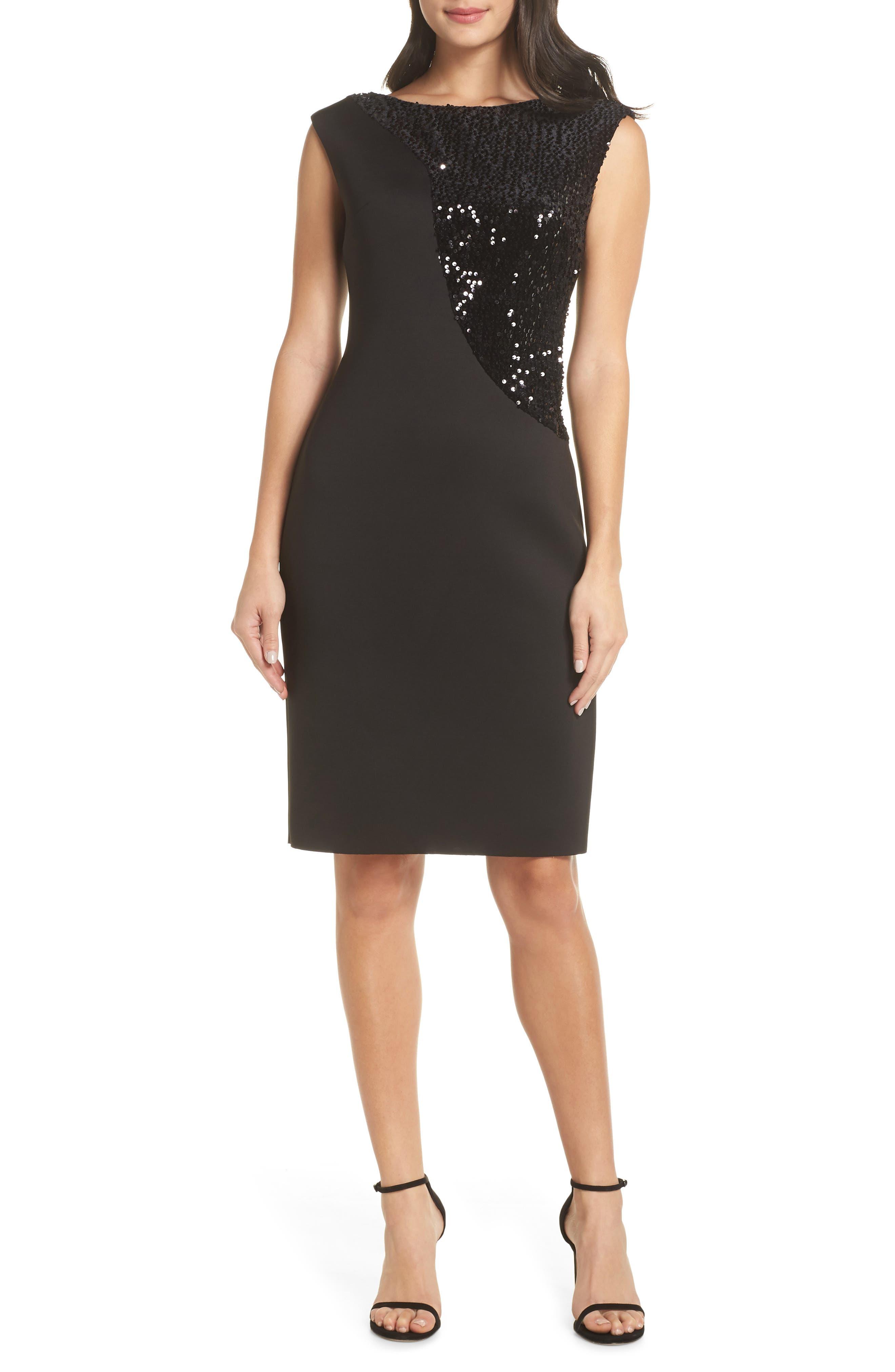 Sequin Swath Sheath Dress,                             Main thumbnail 1, color,                             BLACK