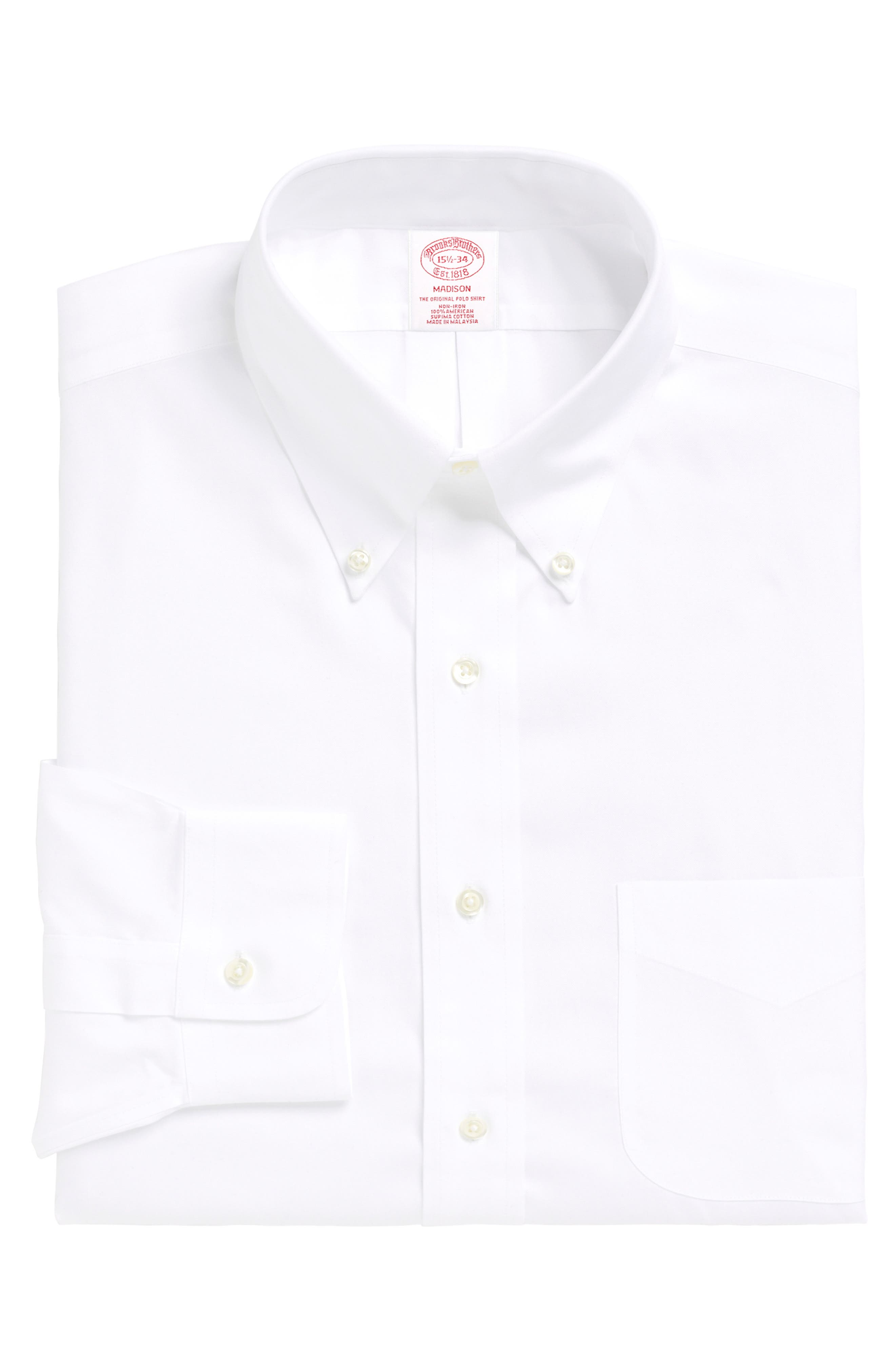 Classic Fit Solid Dress Shirt,                         Main,                         color, WHITE