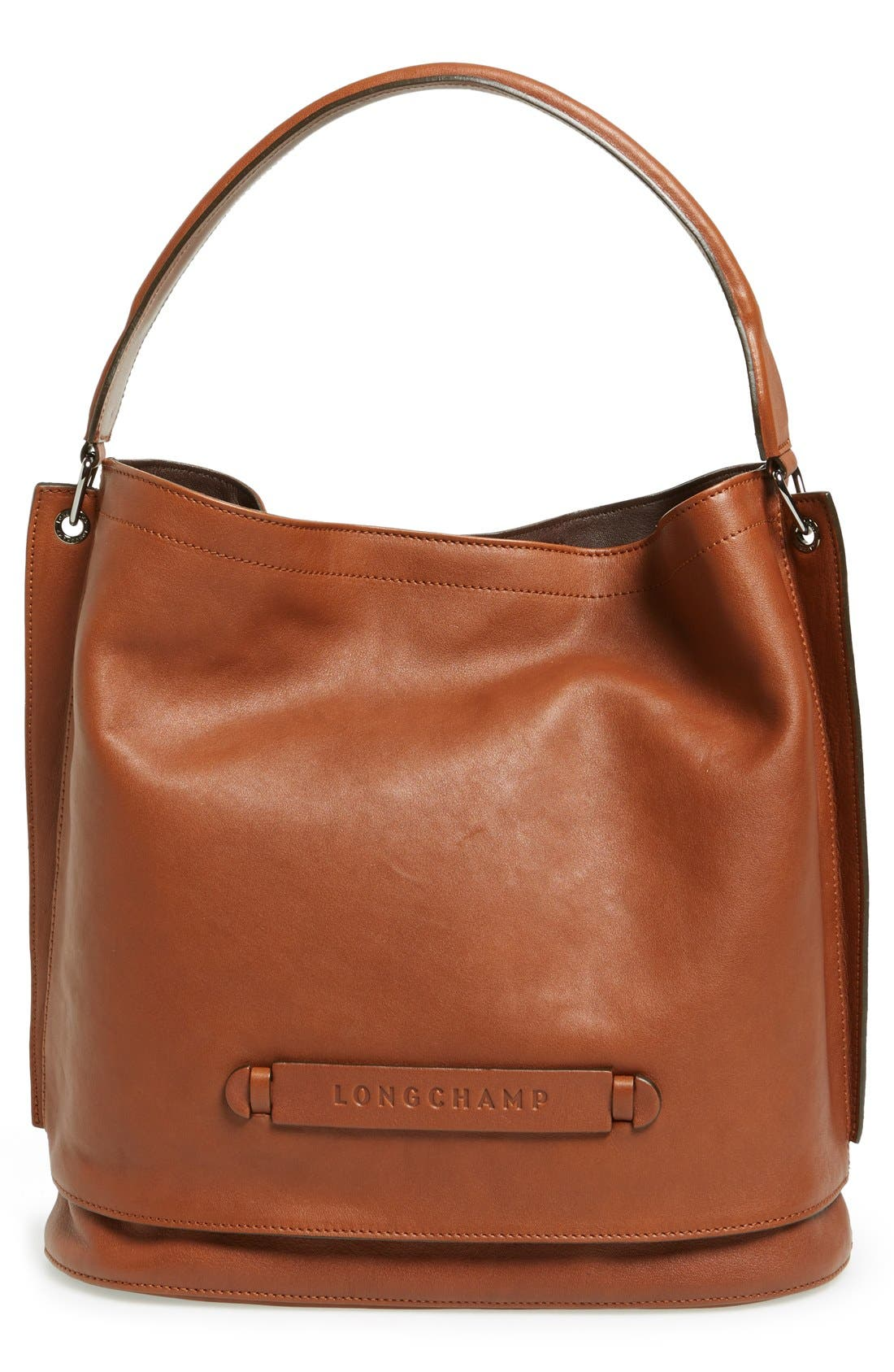 '3D' Leather Hobo,                         Main,                         color, COGNAC