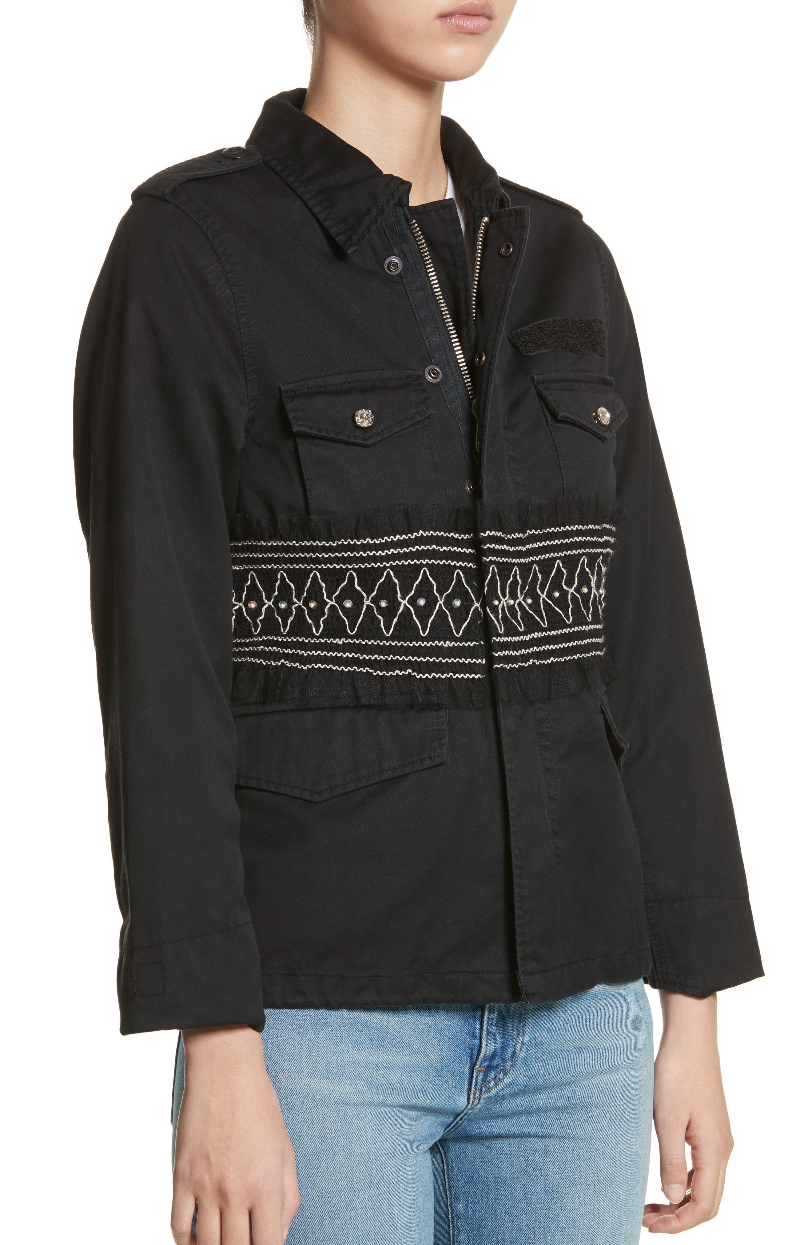 Smocked Embellished Belted Field Jacket,                             Alternate thumbnail 4, color,                             001