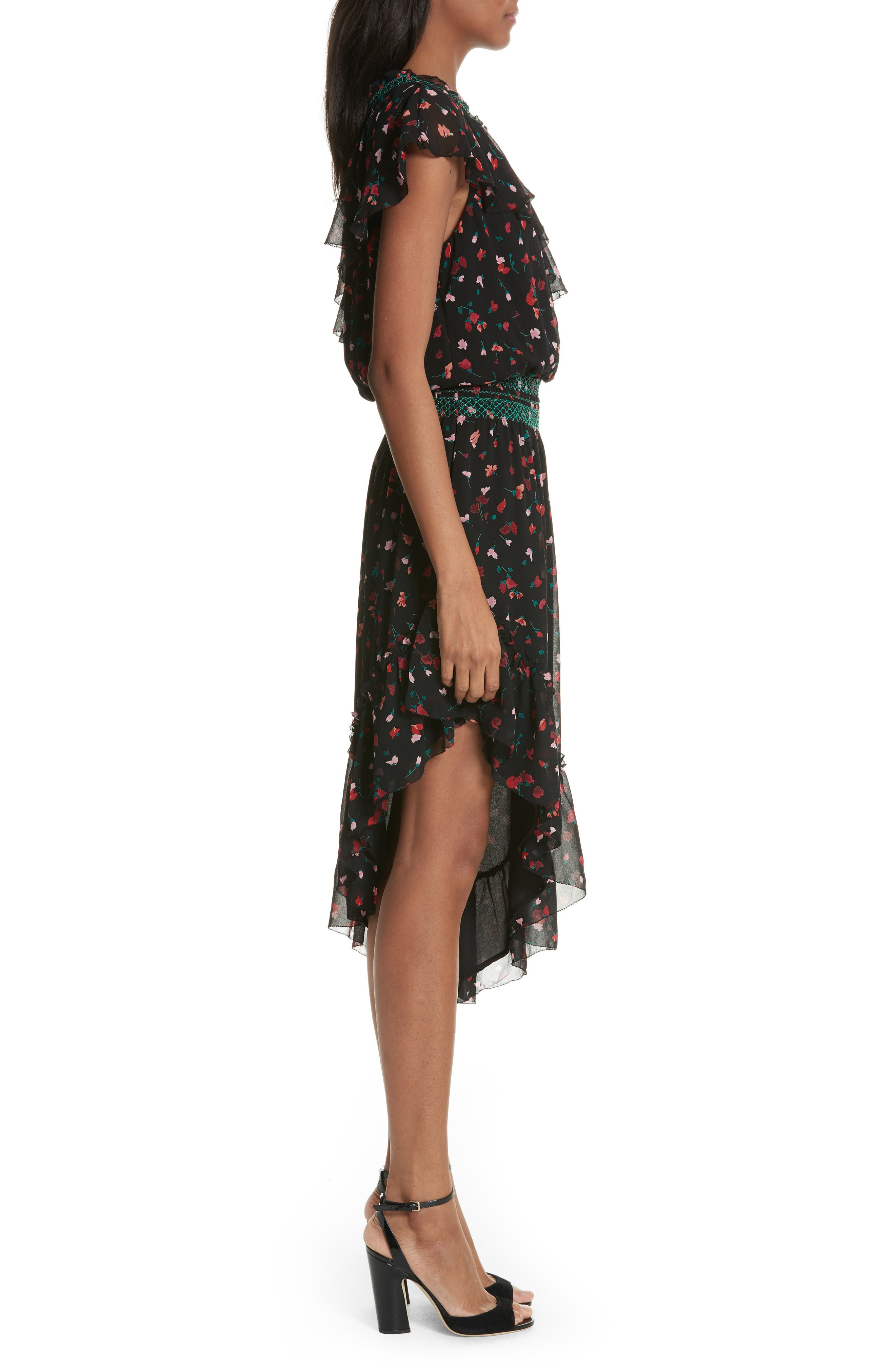 Hafsa One-Shoulder Print Silk Dress,                             Alternate thumbnail 3, color,                             001