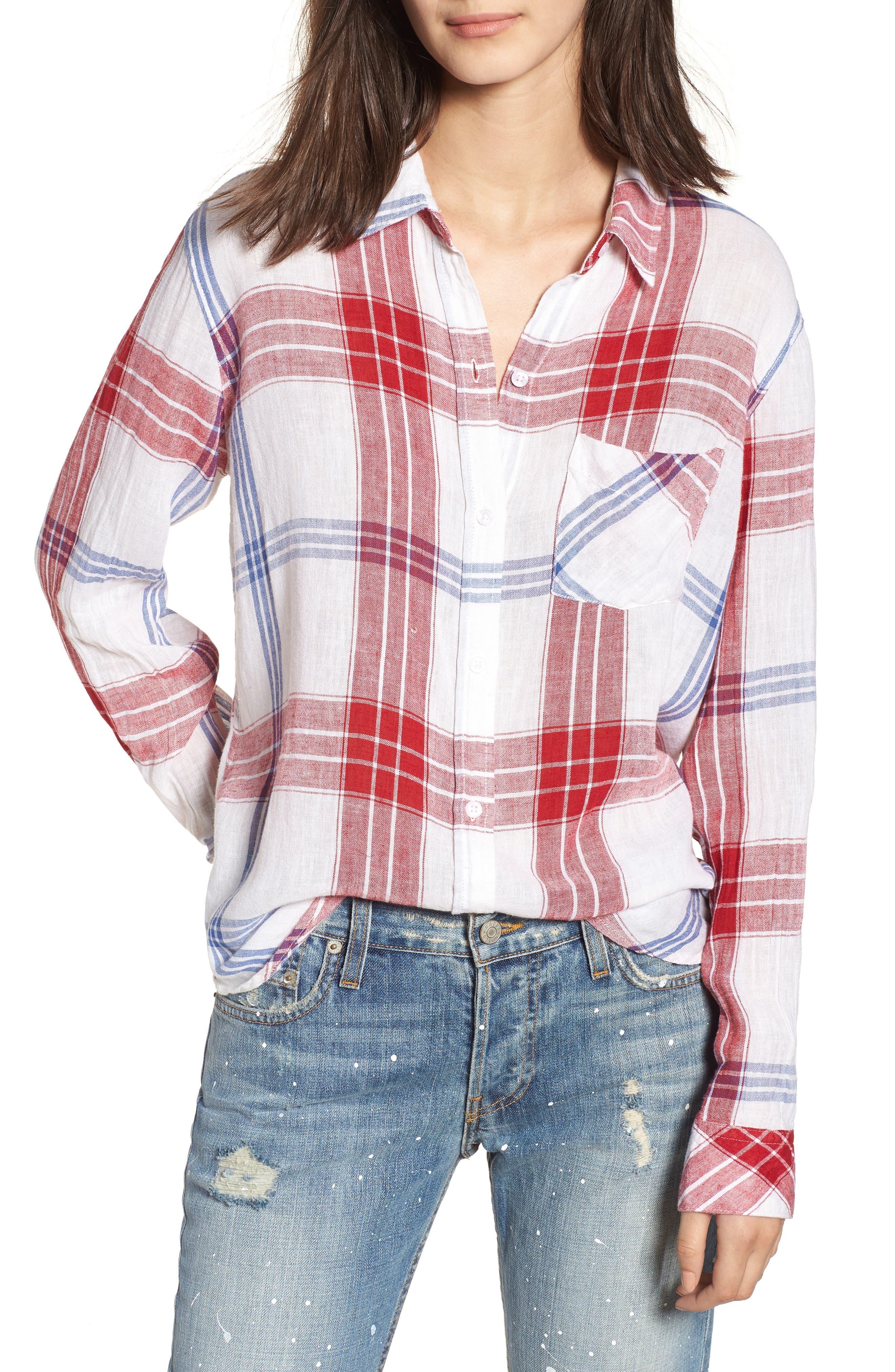 Charli Shirt,                         Main,                         color, CARMINE BLUE WHITE