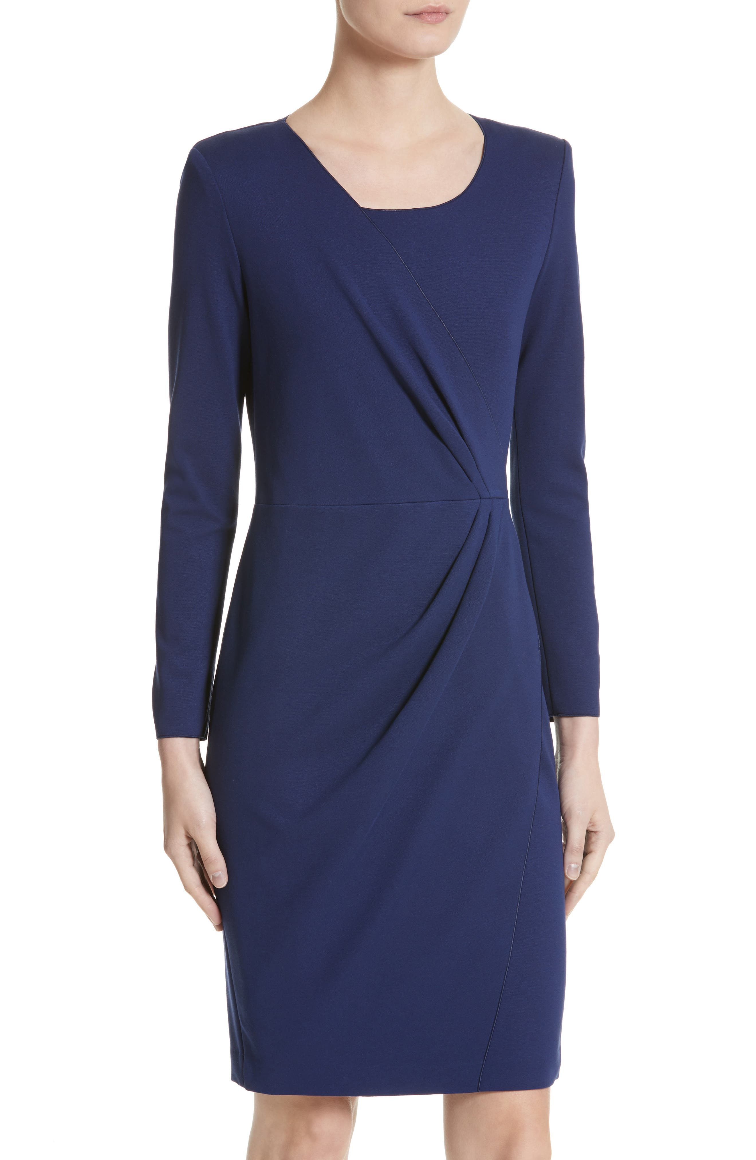 Side Gather Milano Jersey Dress,                             Alternate thumbnail 4, color,                             484