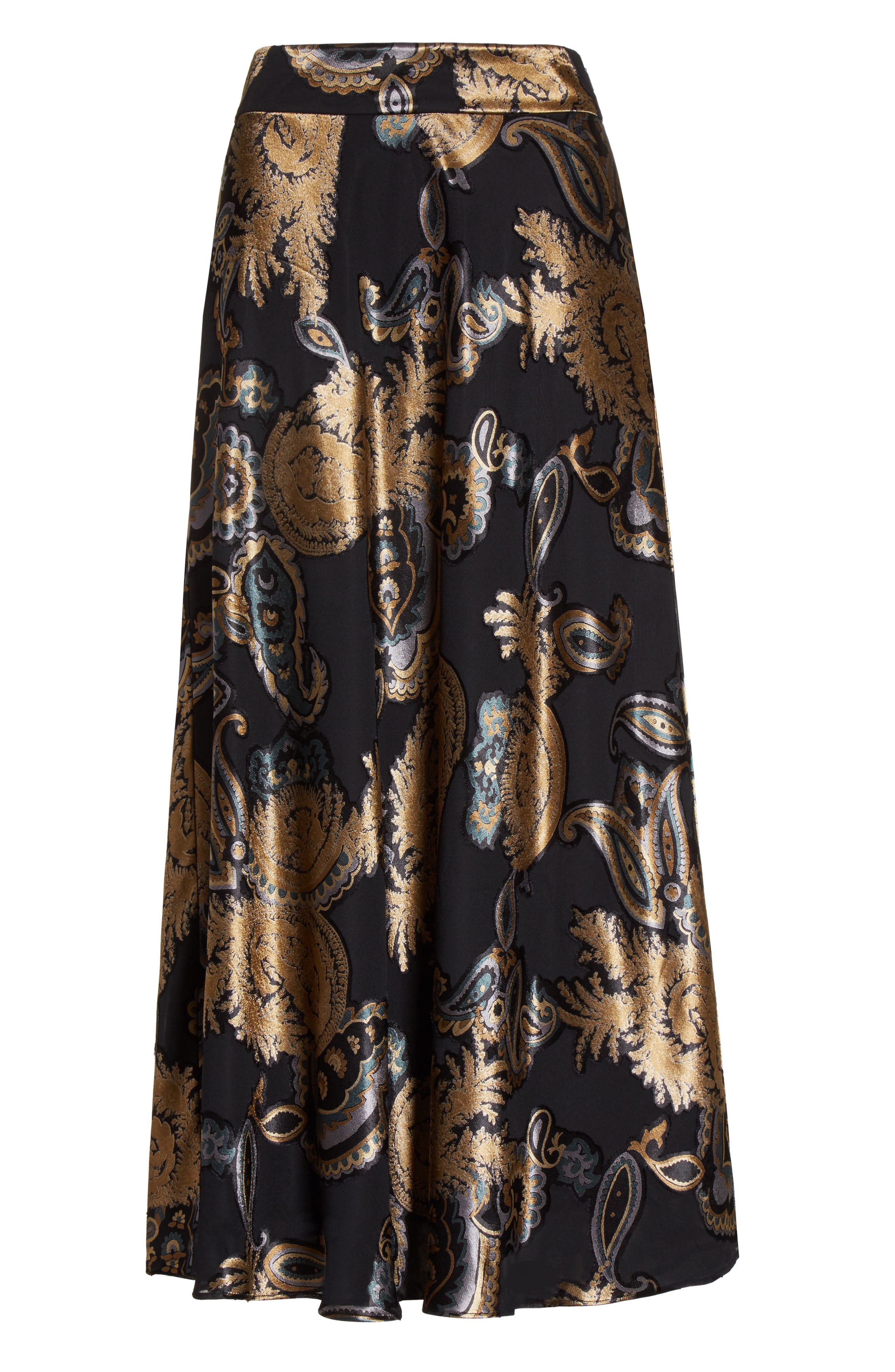 Kamara Renaissance Paisley Devoré Skirt,                             Alternate thumbnail 6, color,                             001