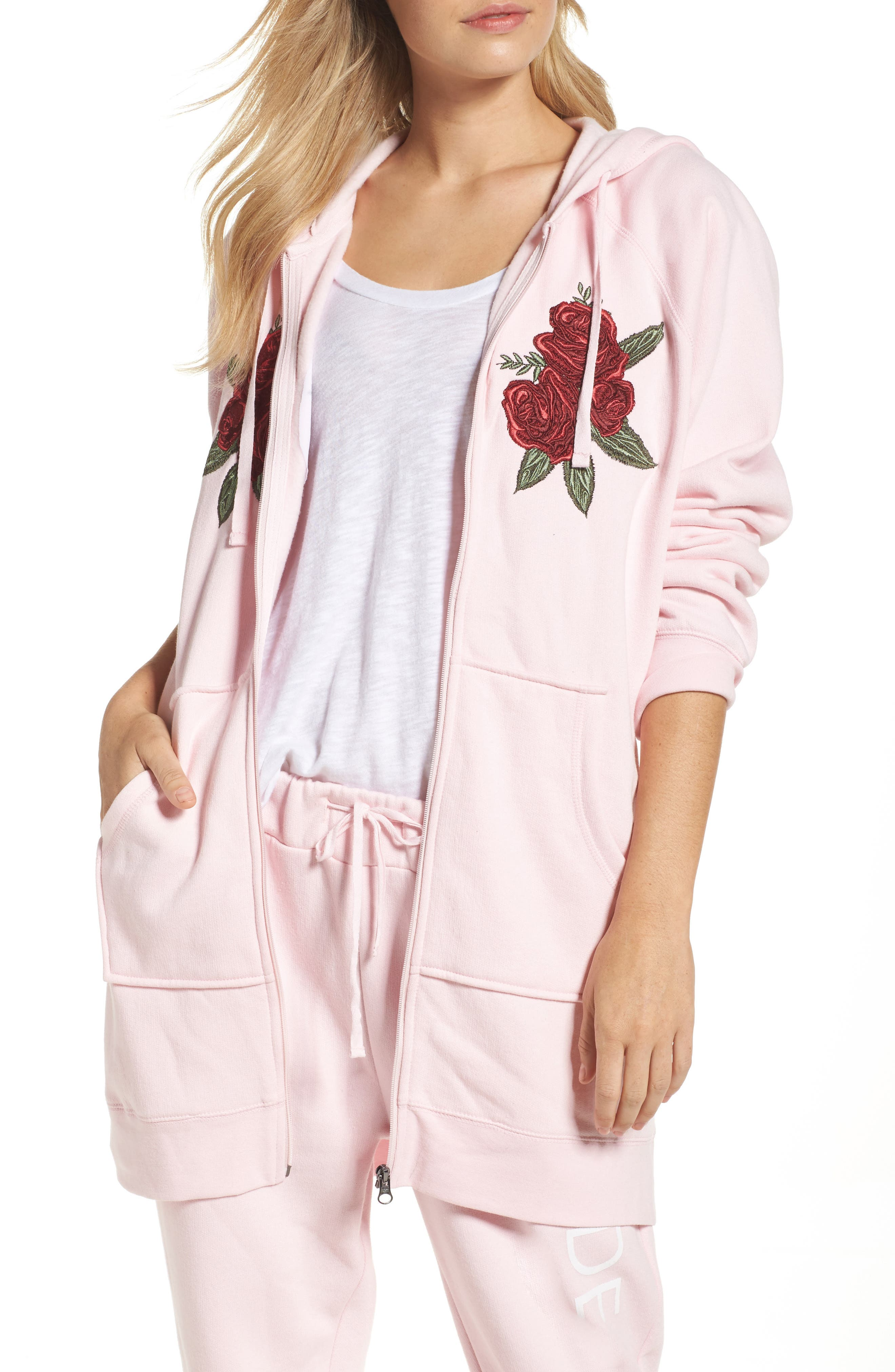 Blonde Embroidered Zip Hoodie,                             Main thumbnail 1, color,                             650