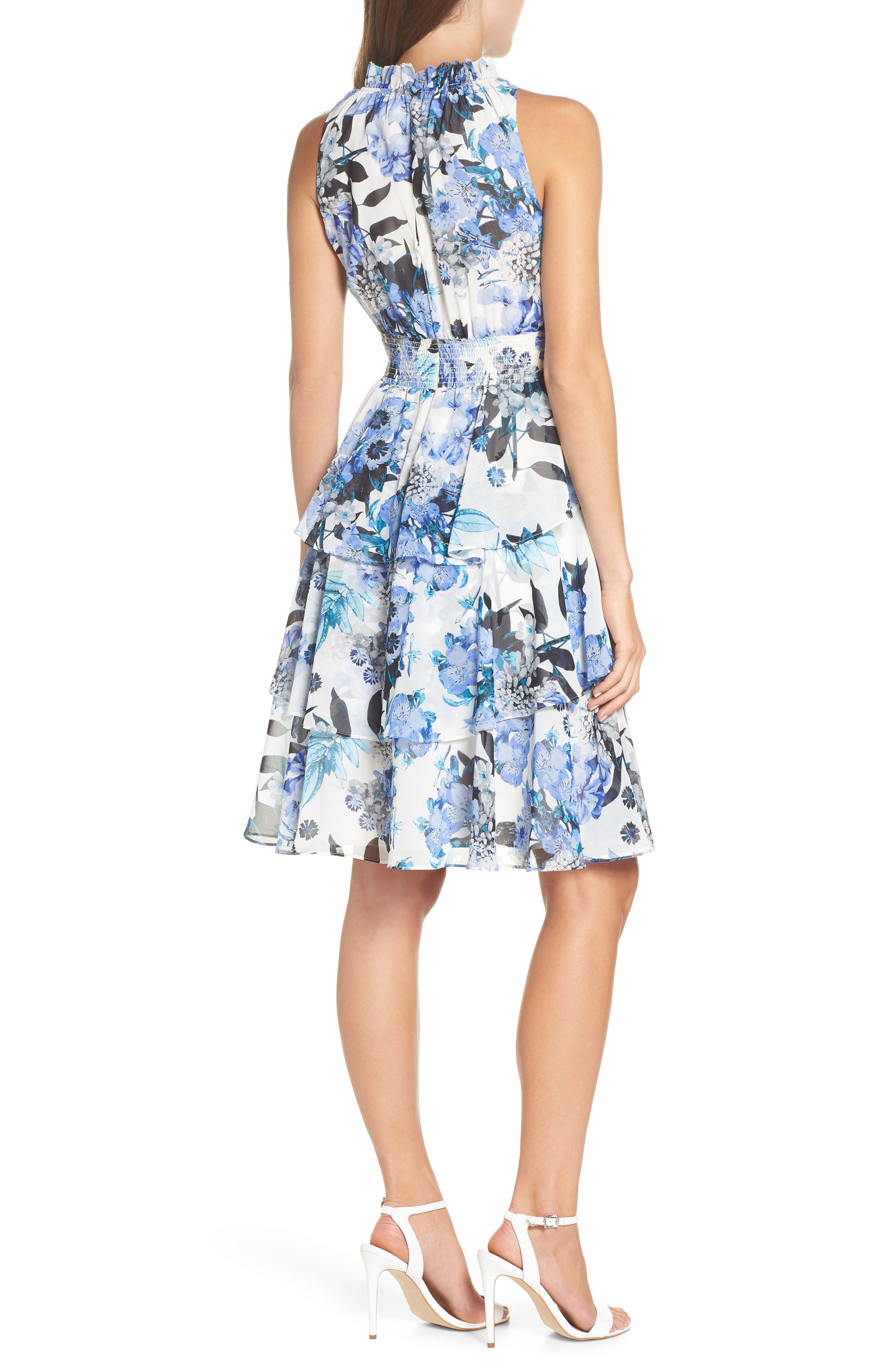 Smocked Waist Ruffle Chiffon Dress,                             Alternate thumbnail 2, color,                             421