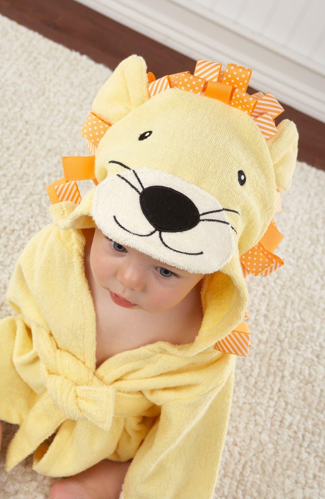 'Big Top Bathtime' Lion Hooded Terry Robe,                             Main thumbnail 1, color,                             YELLOW