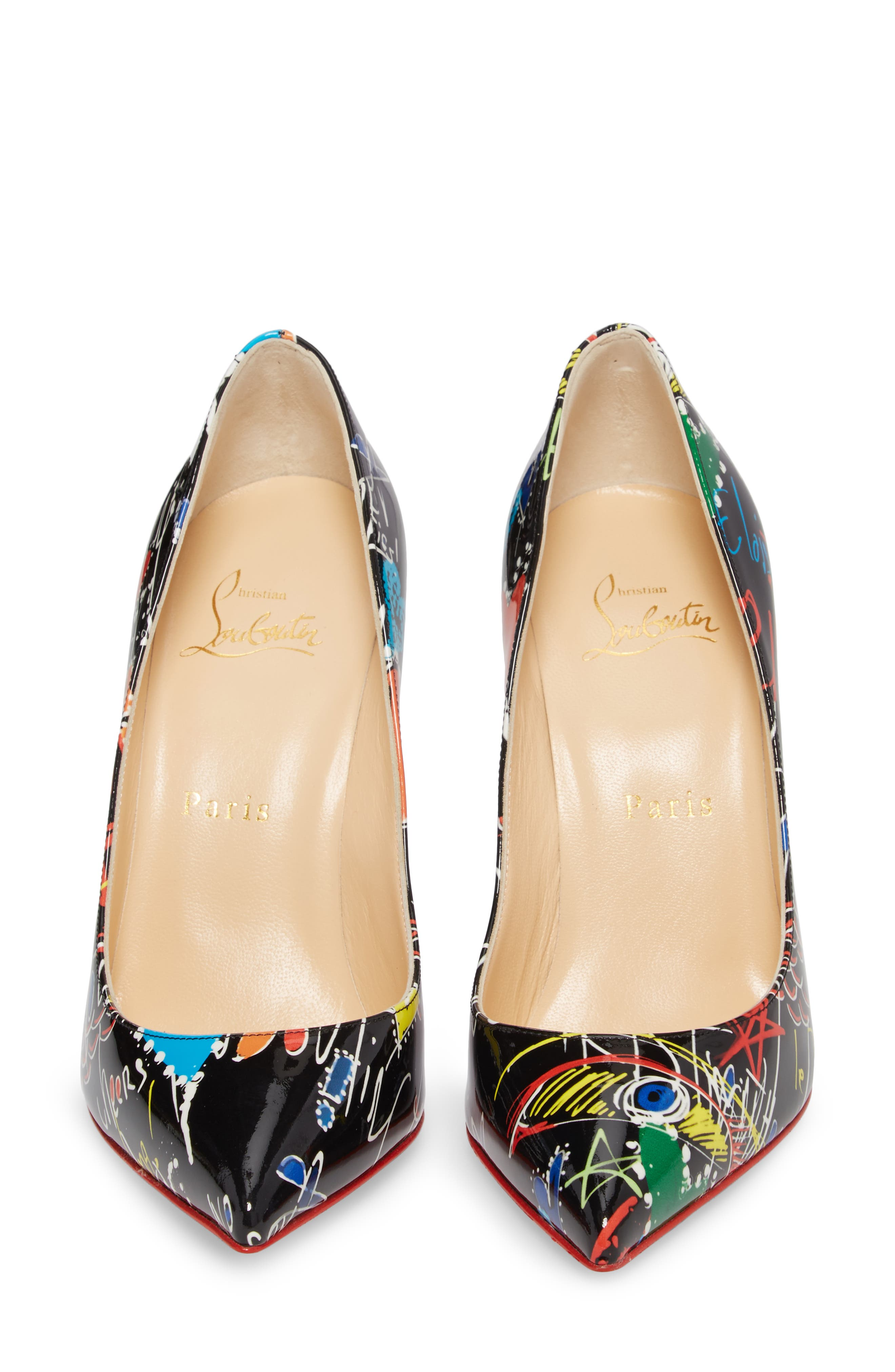 Pigalle Loubitag Pointy Toe Pump,                             Alternate thumbnail 4, color,                             001