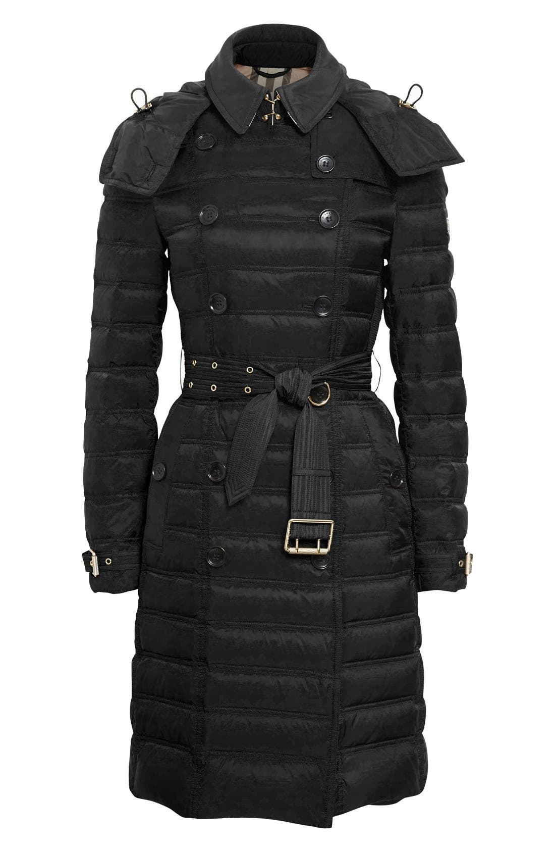 'Chesterford' Belted Double Breasted Down Coat,                             Alternate thumbnail 4, color,                             001