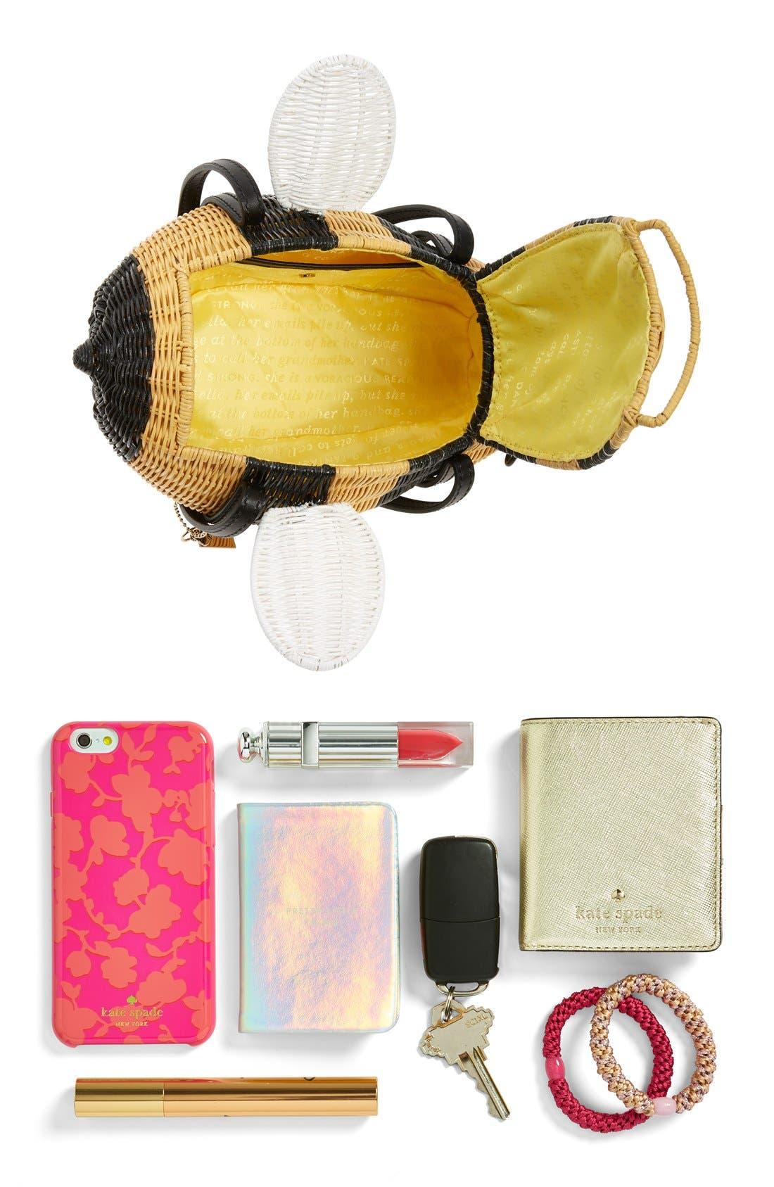 'bee' wicker handbag,                             Alternate thumbnail 4, color,                             250