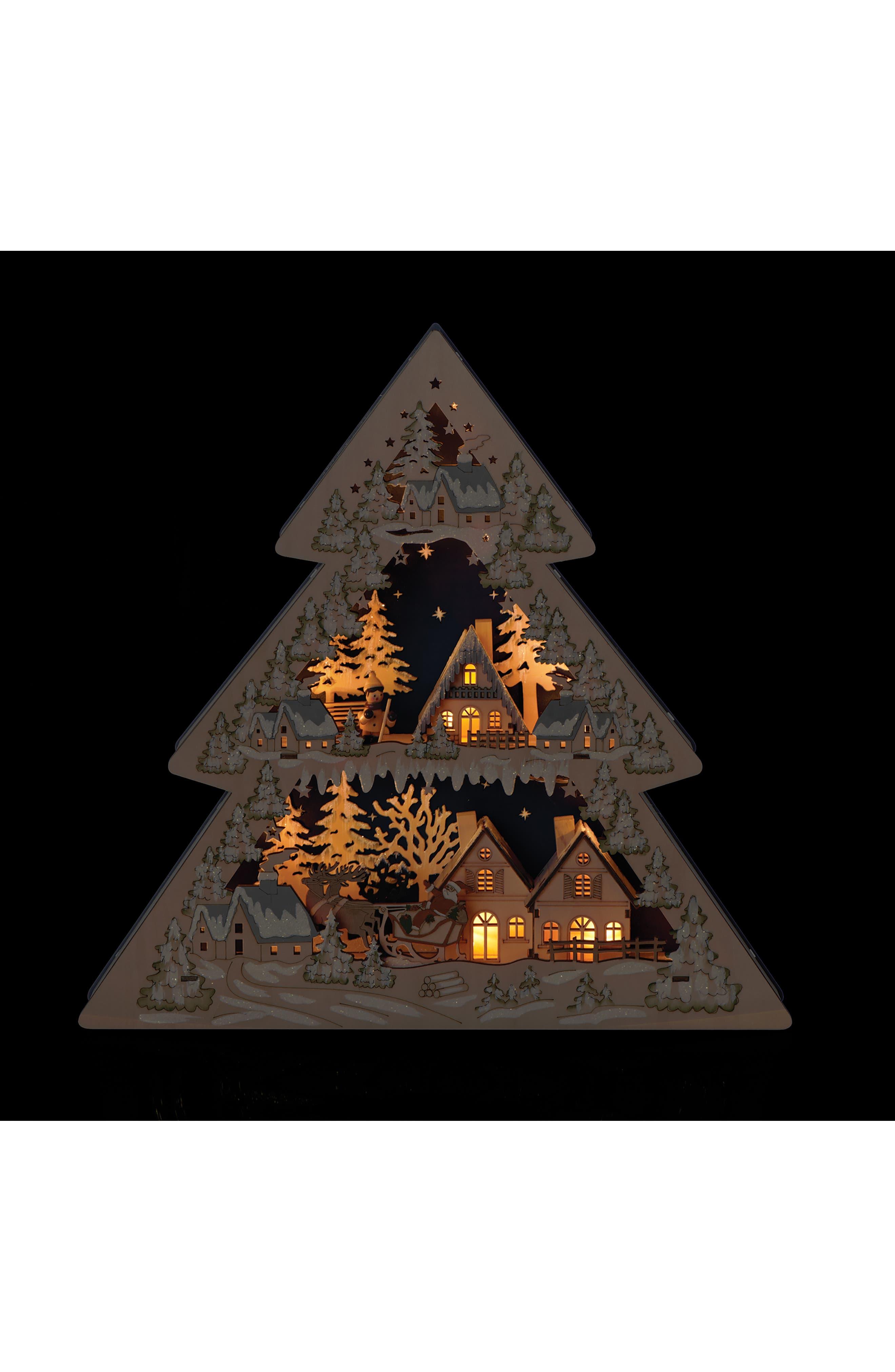 LED Tree with Santa Village Decoration,                             Alternate thumbnail 2, color,                             WOODGRAIN