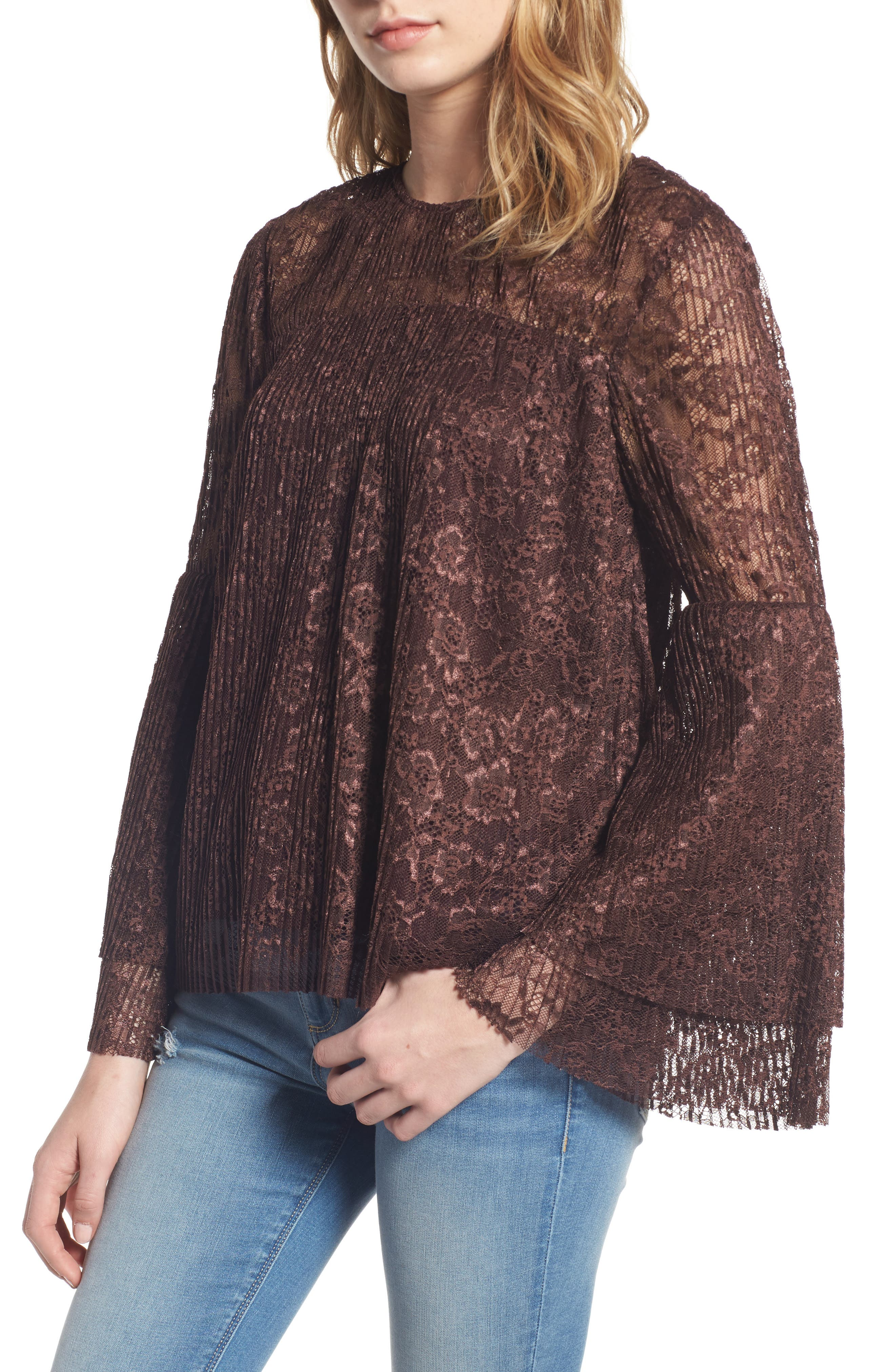 Lace Bell Sleeve Top,                             Main thumbnail 1, color,                             937