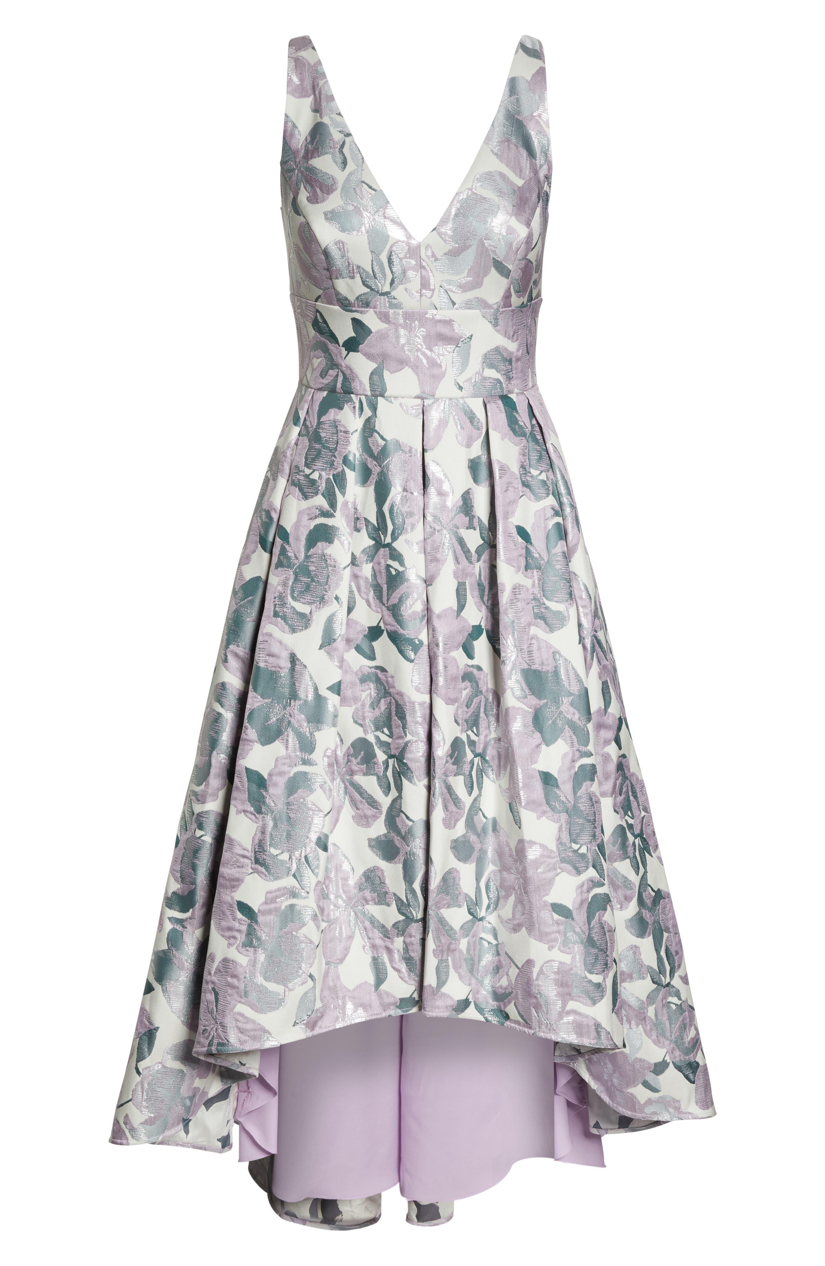 Floral Jacquard High/Low Evening Dress,                             Alternate thumbnail 7, color,                             LILAC COMBINATION