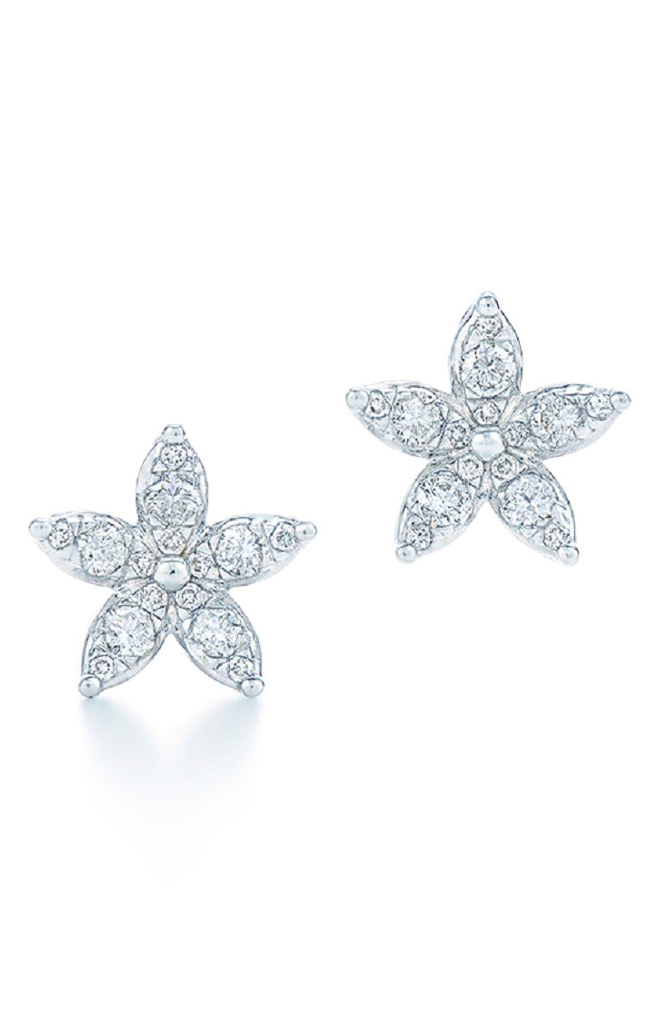 KWIAT Sunburst Flower Diamond Stud Earrings in White Gold
