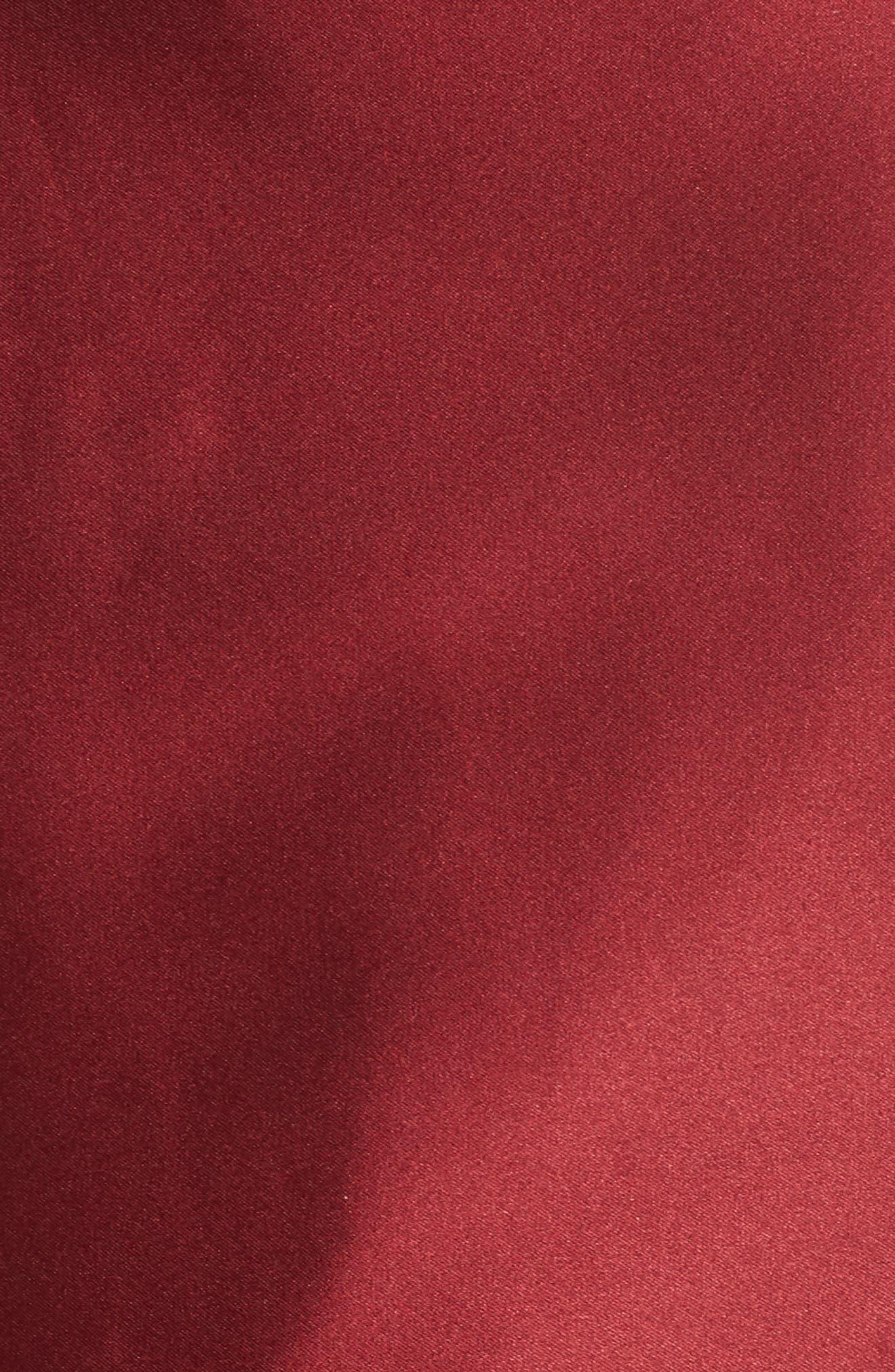 Satin Halter Neck Party Dress,                             Alternate thumbnail 6, color,                             BURGUNDY
