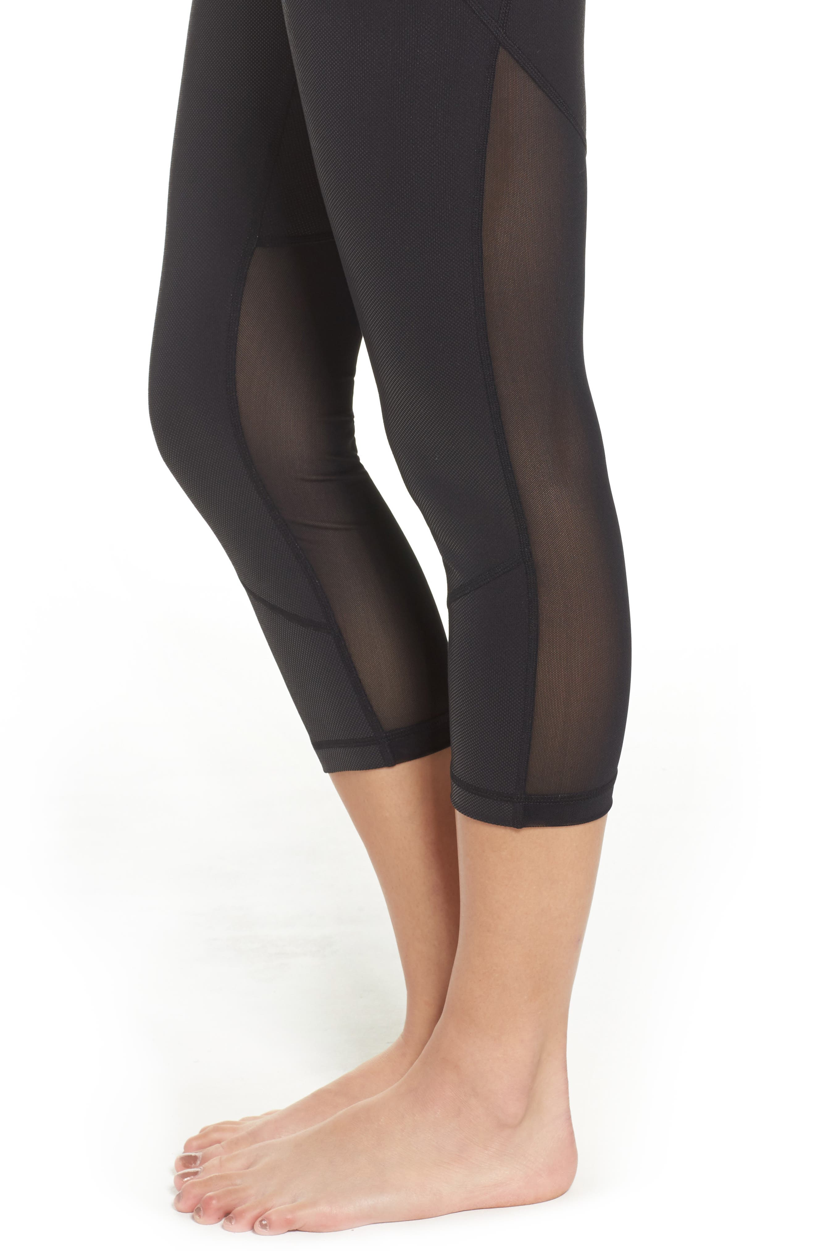 'Live In - Sultry' High Waist Mesh Crop Leggings,                             Alternate thumbnail 37, color,