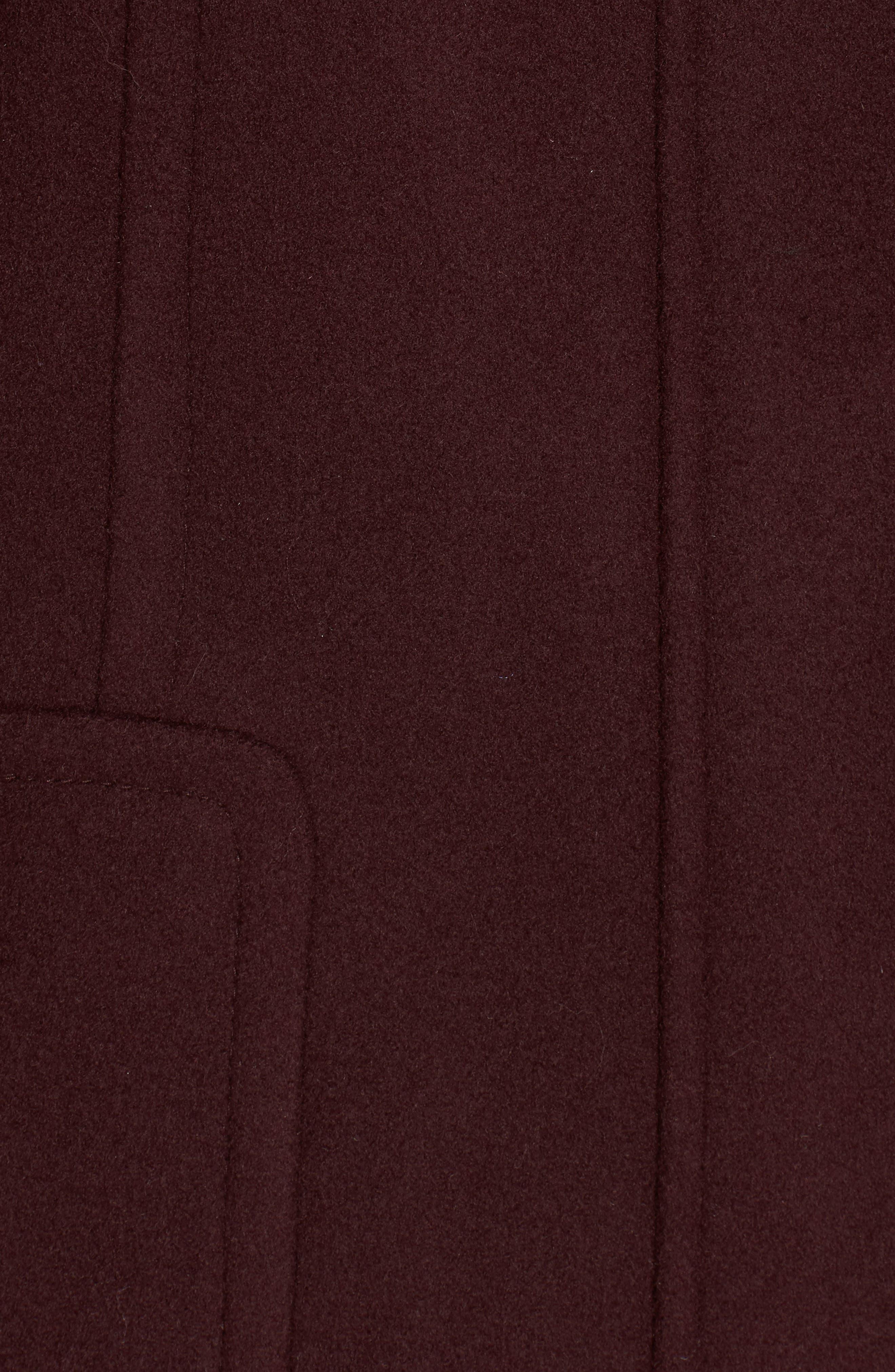 Hooded Wool Blend Coat with Genuine Fox Fur Trim,                             Alternate thumbnail 18, color,